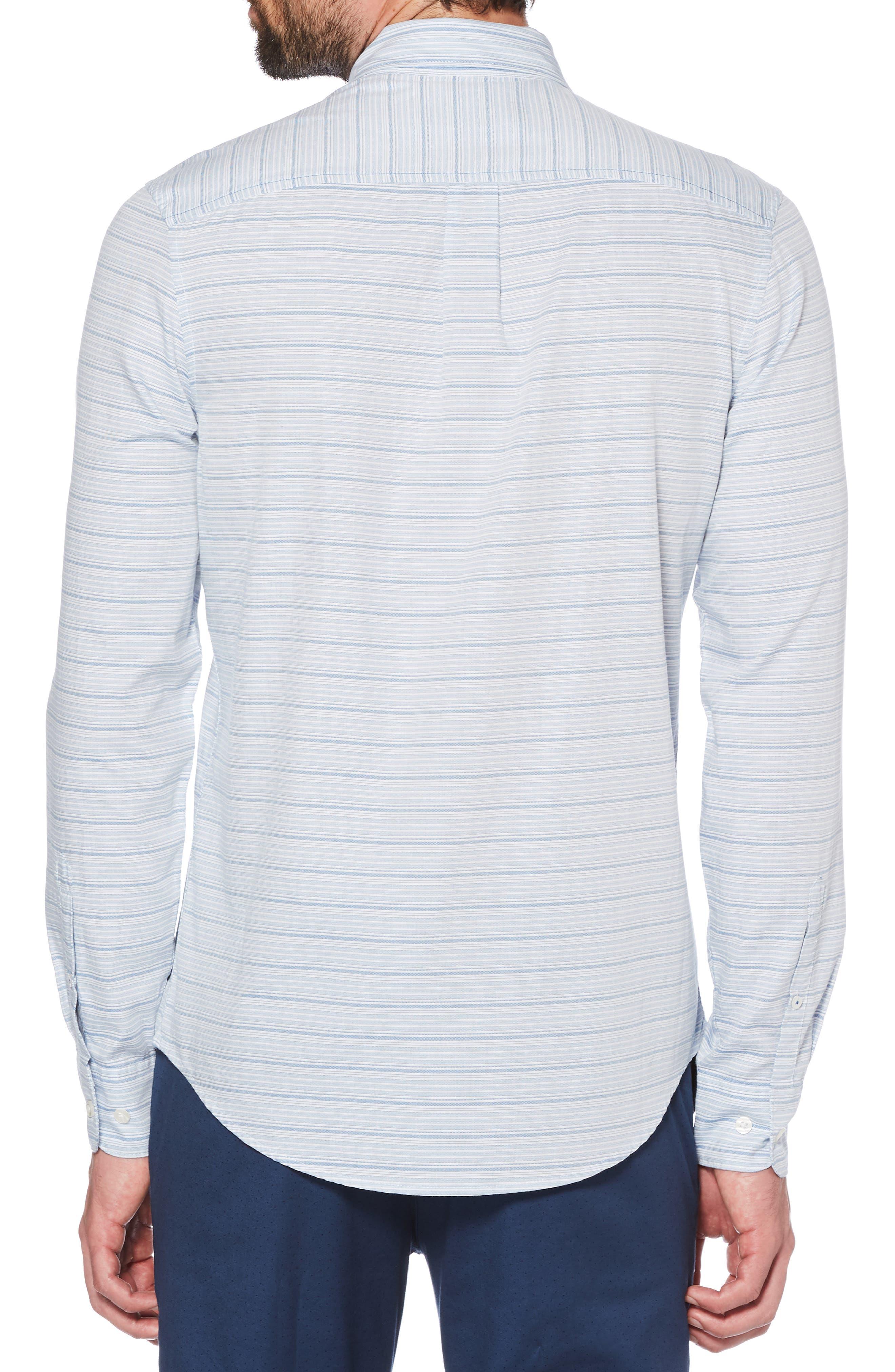 ORIGINAL PENGUIN, Slim Fit Dobby Sport Shirt, Alternate thumbnail 3, color, BRIGHT WHITE