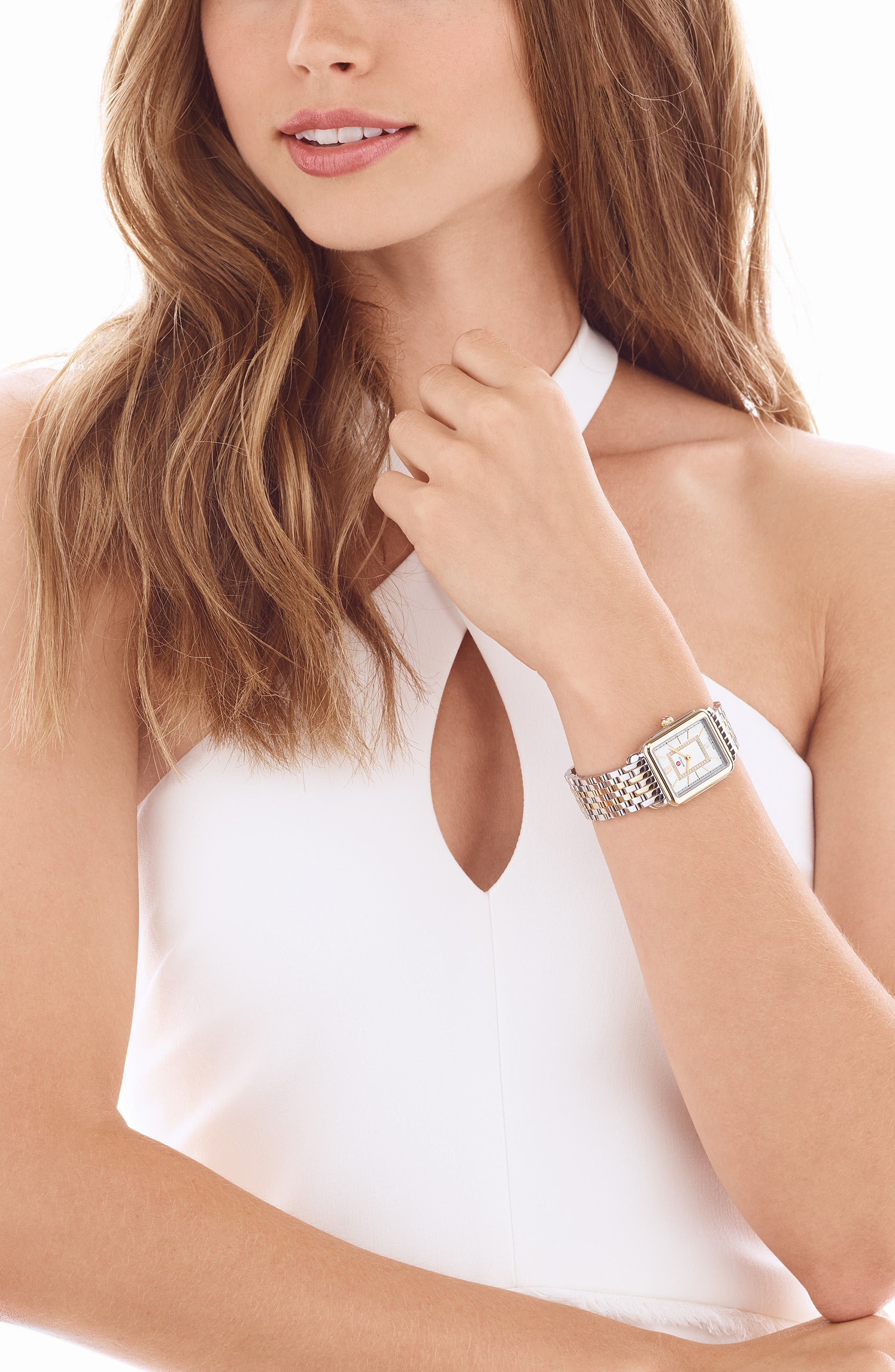 MICHELE, Deco II Mid 16mm Bracelet Watchband, Alternate thumbnail 8, color, SILVER/ GOLD