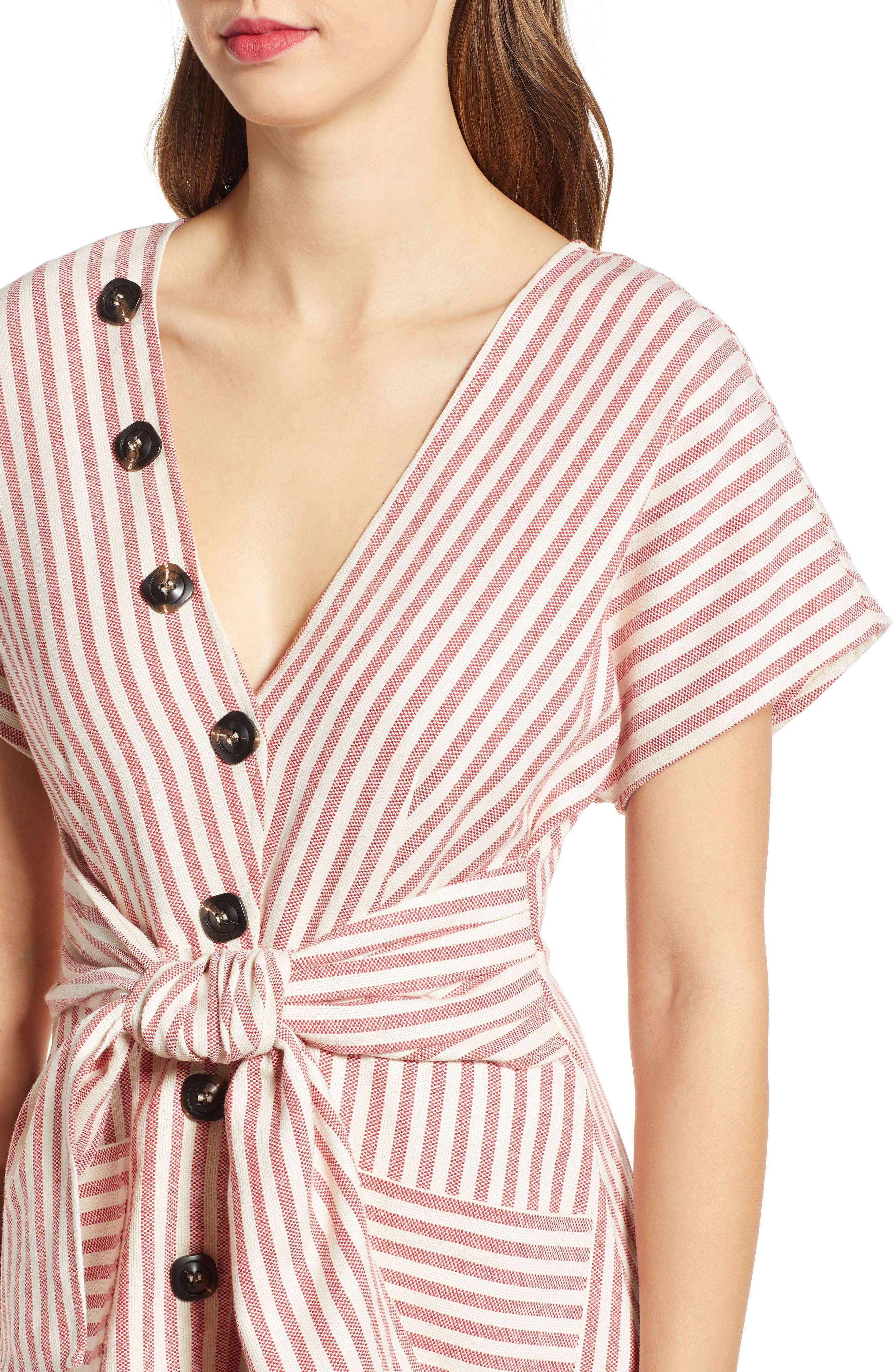 MOON RIVER, Button Detail Stripe Minidress, Alternate thumbnail 4, color, RED STRIPE