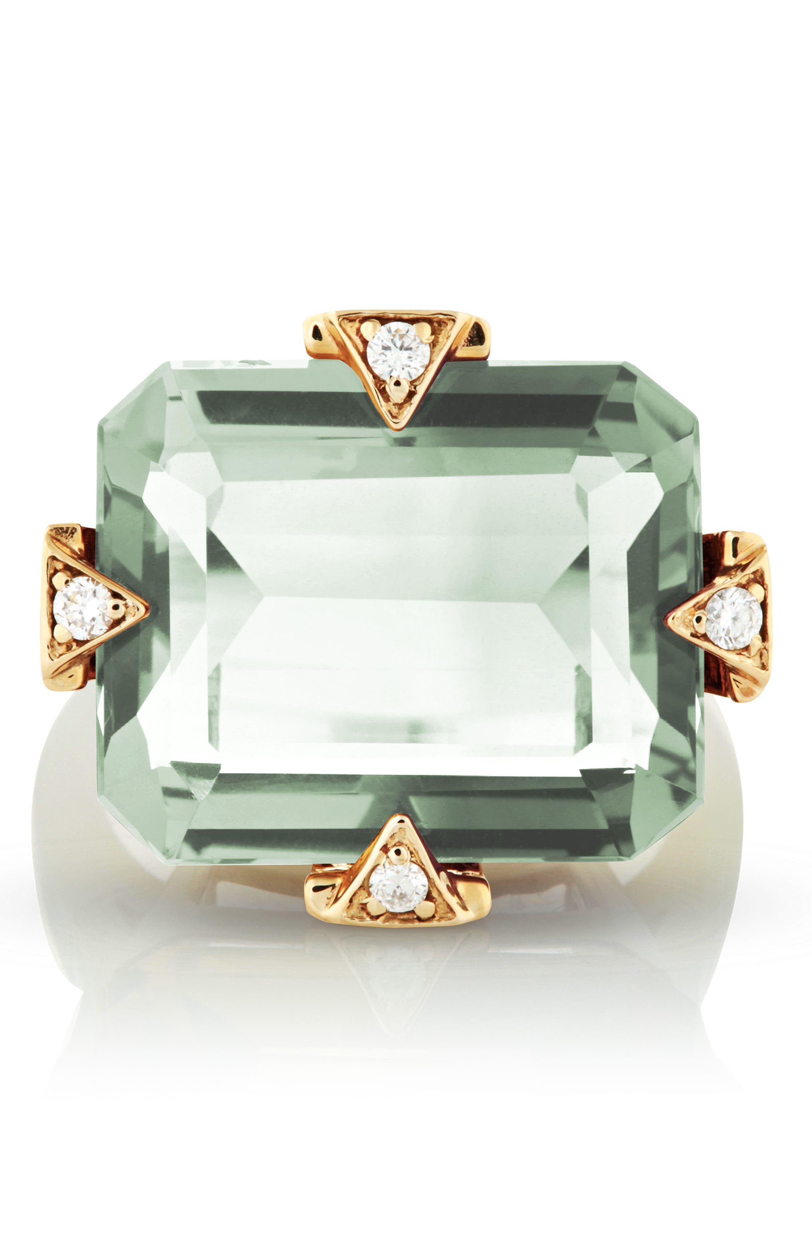 MANIAMANIA, Prasiolite Cocktail Ring with Diamonds, Alternate thumbnail 3, color, PRASIOLITE
