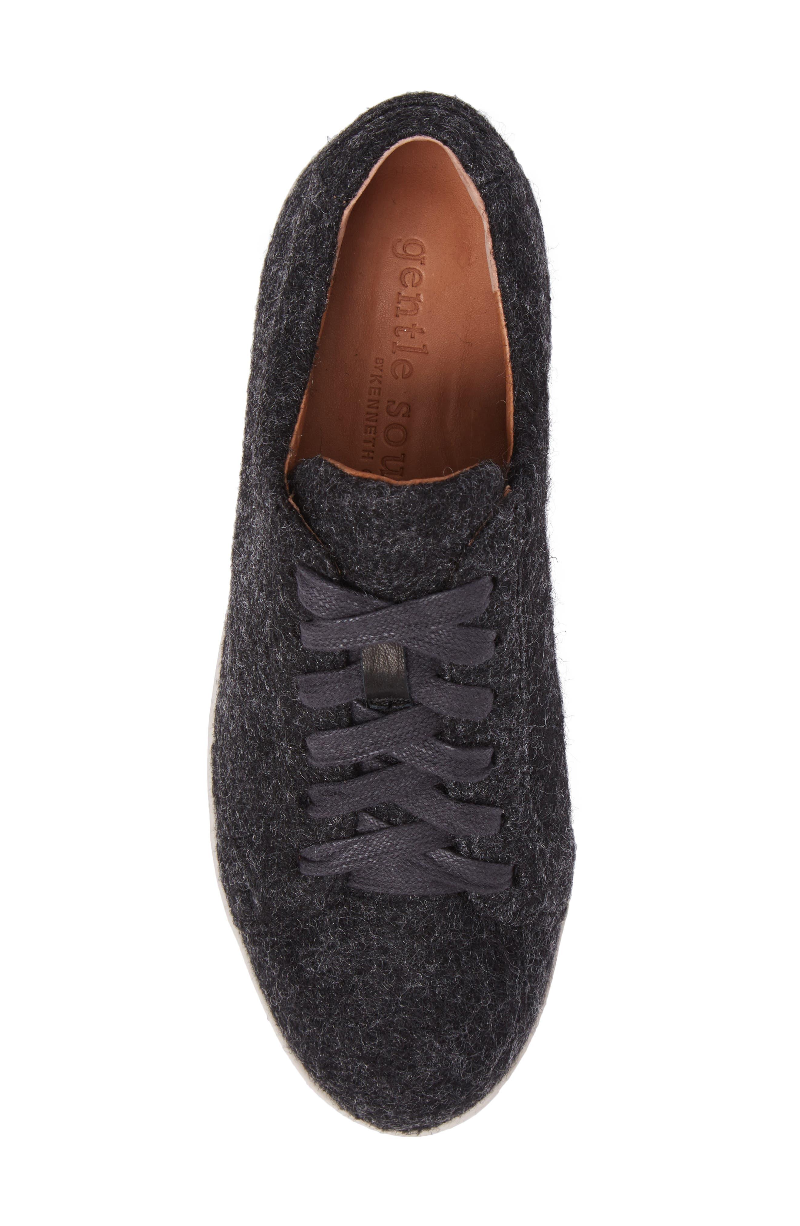 GENTLE SOULS BY KENNETH COLE, Haddie Low Platform Sneaker, Alternate thumbnail 5, color, HEATHER GREY WOOL