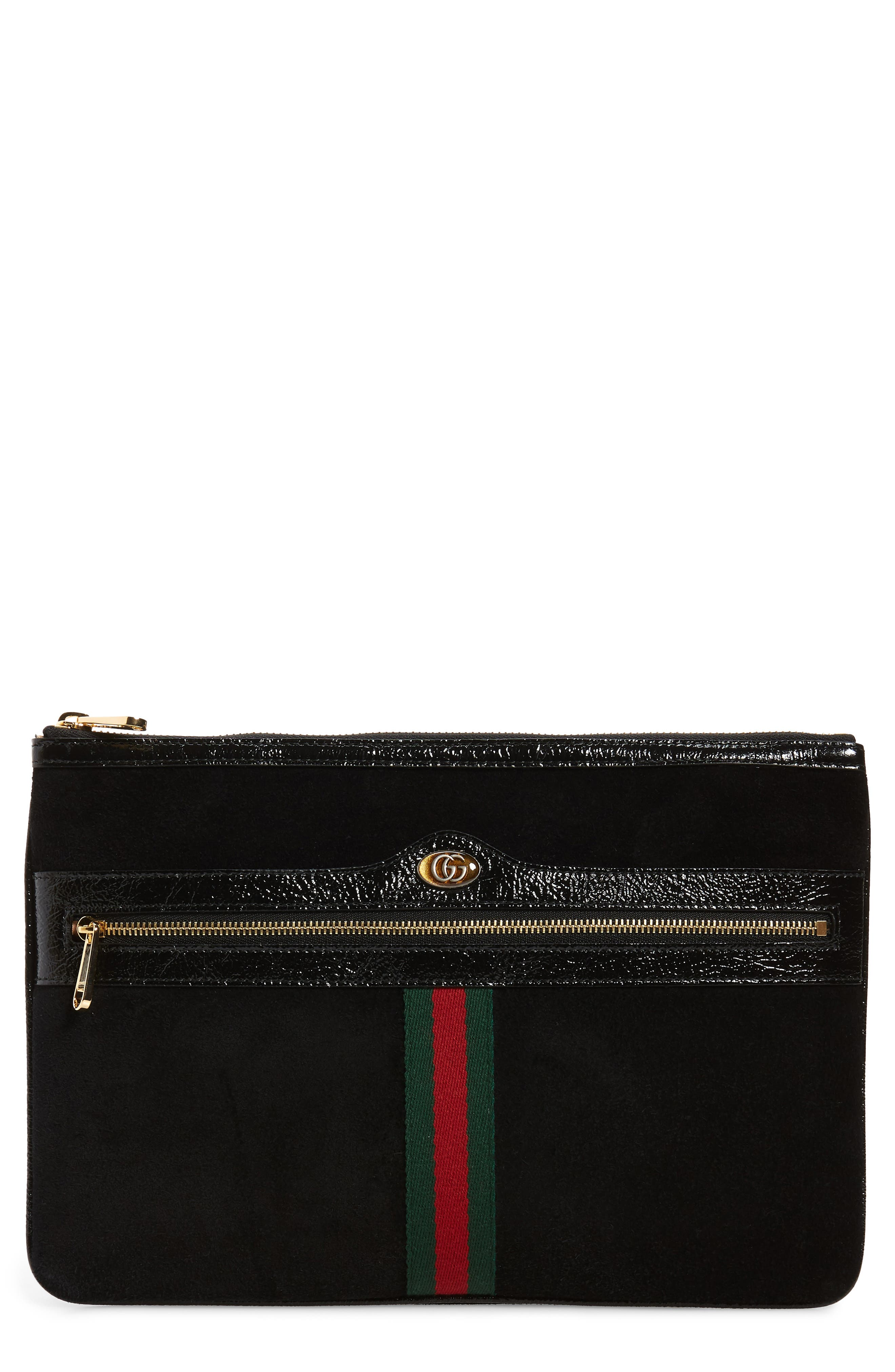 GUCCI, Ophidia Suede Pouch, Main thumbnail 1, color, NERO/ VERT/ RED