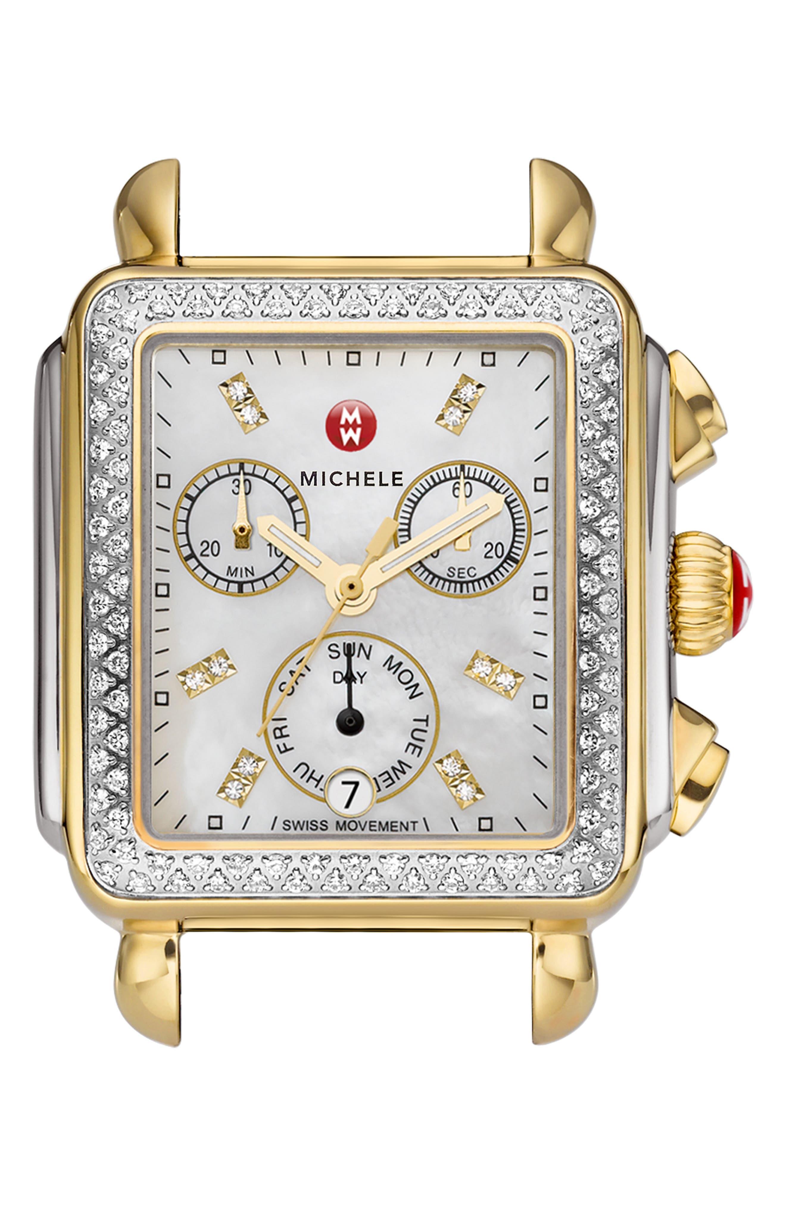 MICHELE Deco Diamond Diamond Dial Two-Tone Watch Case, 33mm x 35mm, Main, color, SILVER/ GOLD