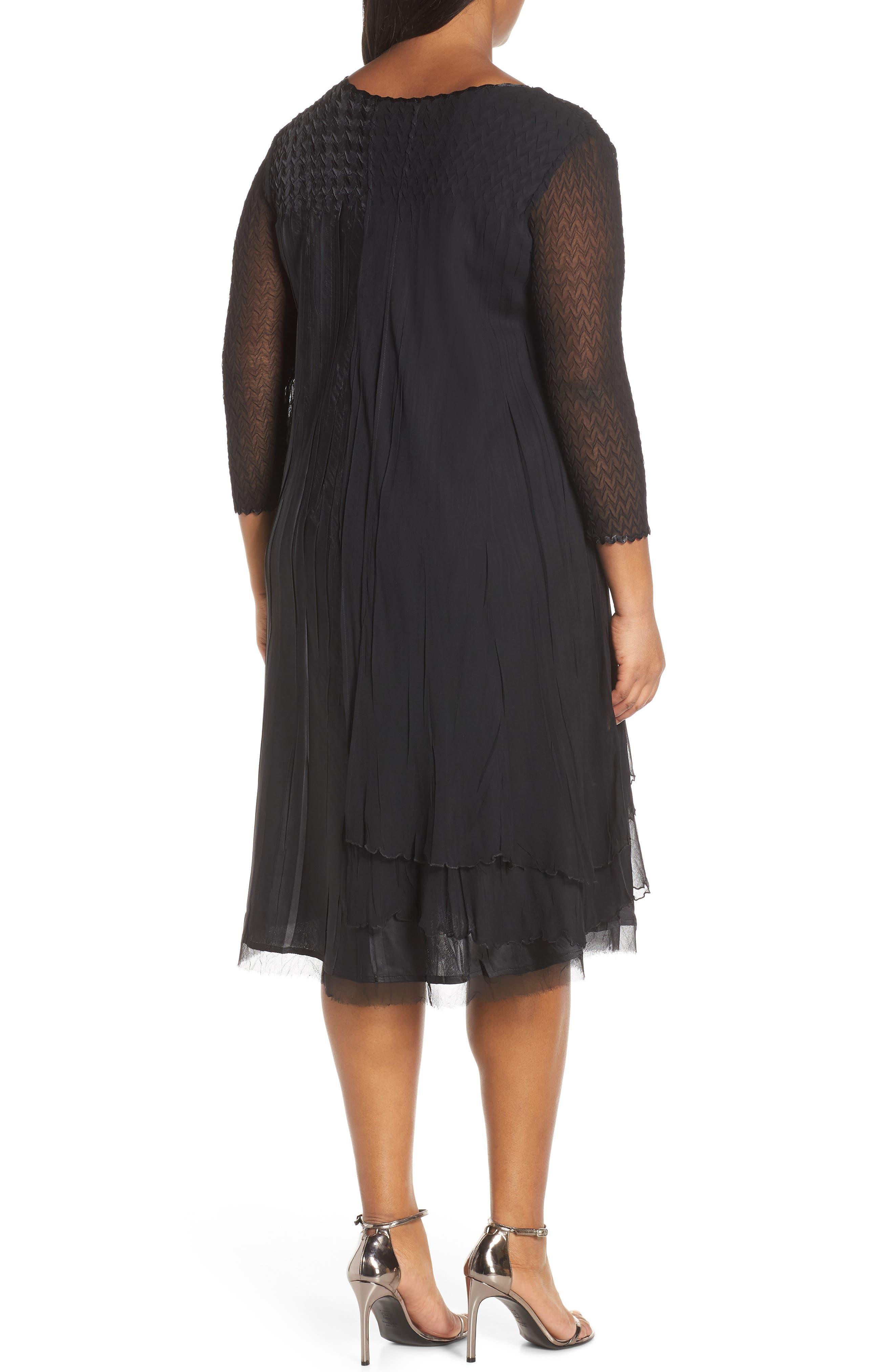 KOMAROV, Beaded Neck Chiffon Dress, Alternate thumbnail 2, color, 001