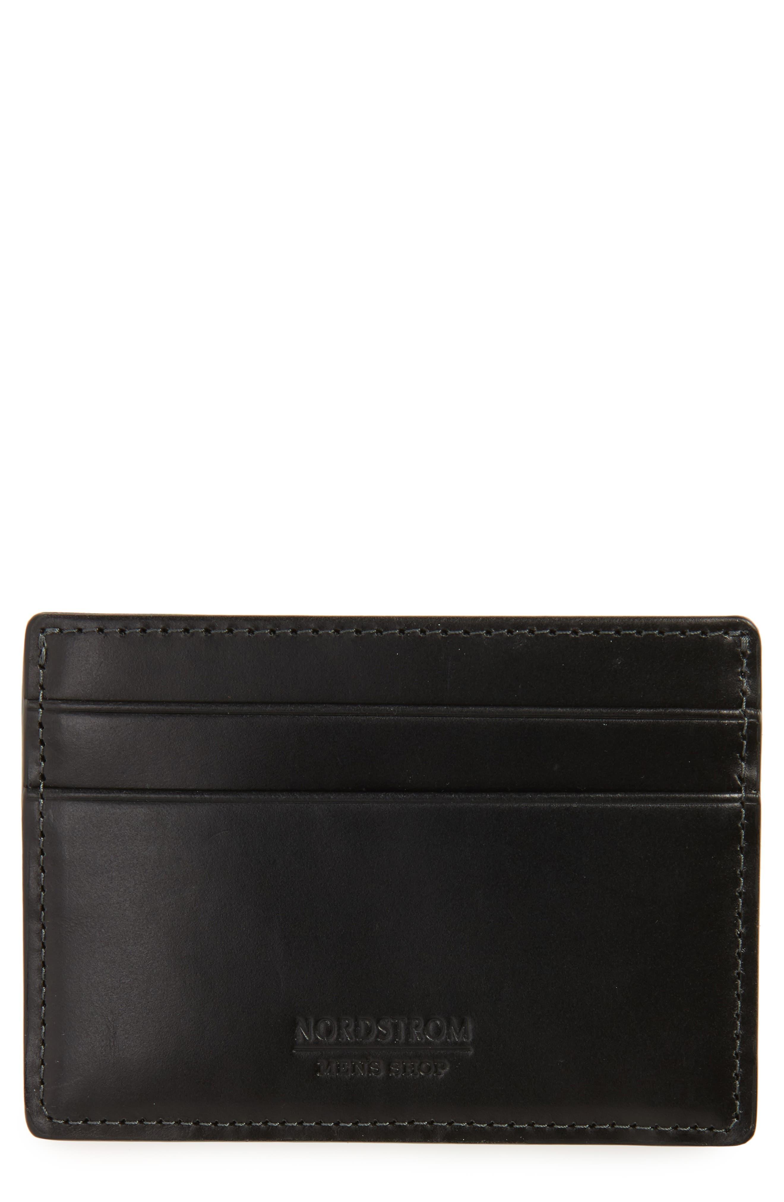NORDSTROM MEN'S SHOP, Wyatt RFID Card Case, Main thumbnail 1, color, BLACK
