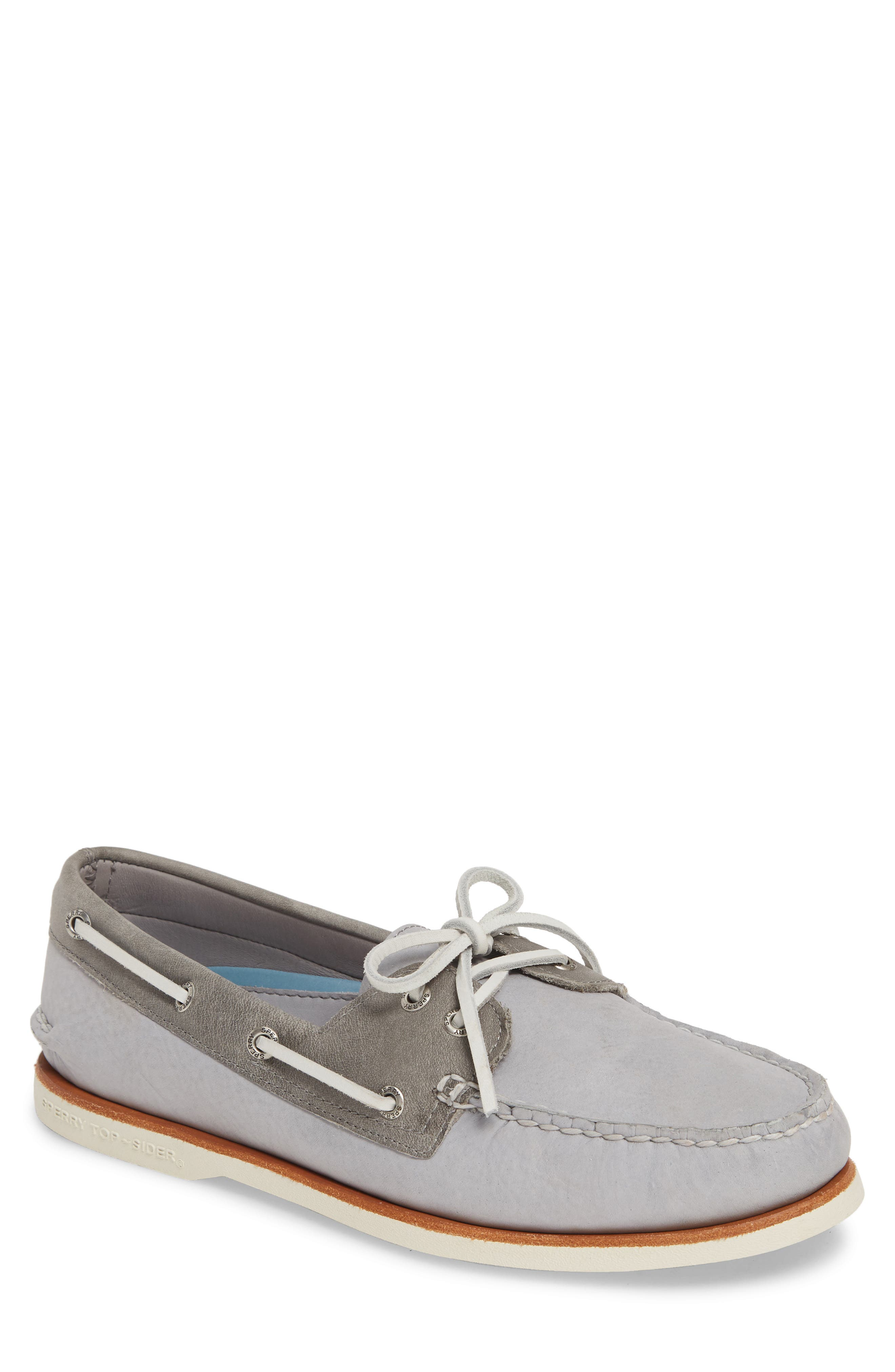 SPERRY, 'Gold Cup - Authentic Original' Boat Shoe, Main thumbnail 1, color, GREY/GREY LEATHER