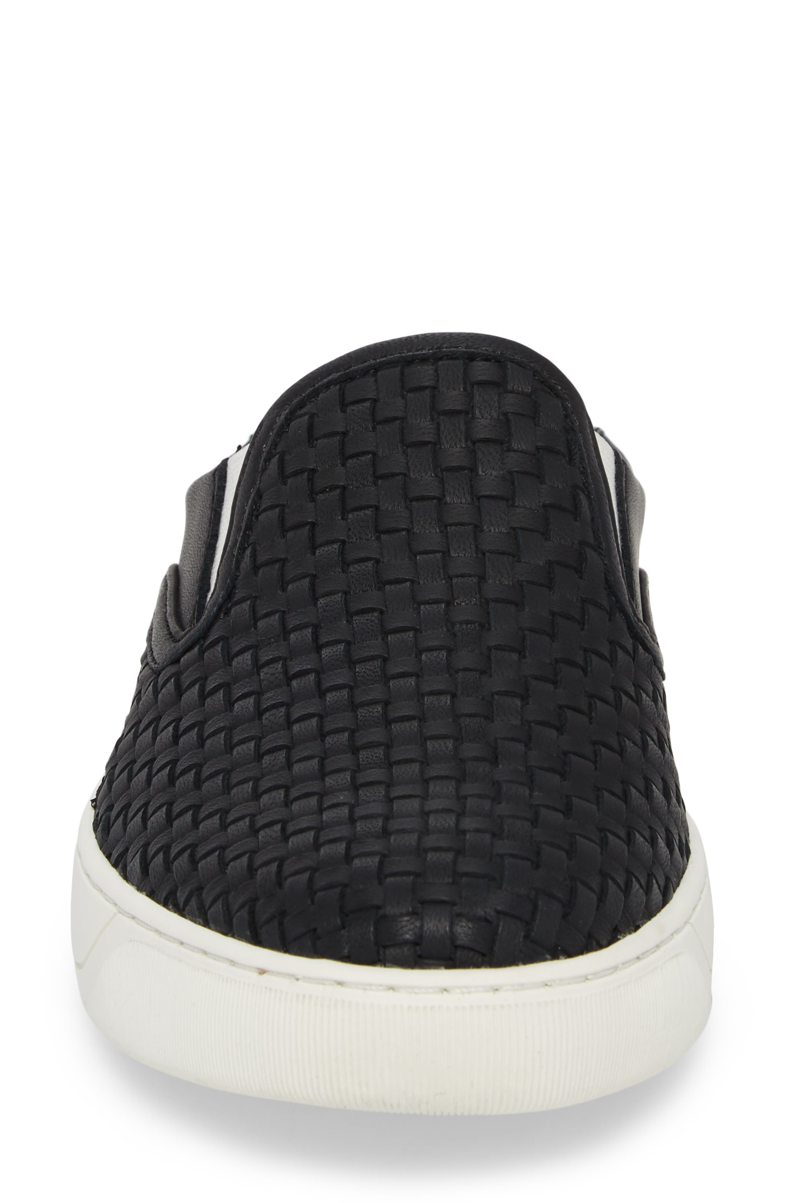 JOHNSTON & MURPHY, Evie Slip-On Sneaker, Alternate thumbnail 4, color, BLACK LEATHER