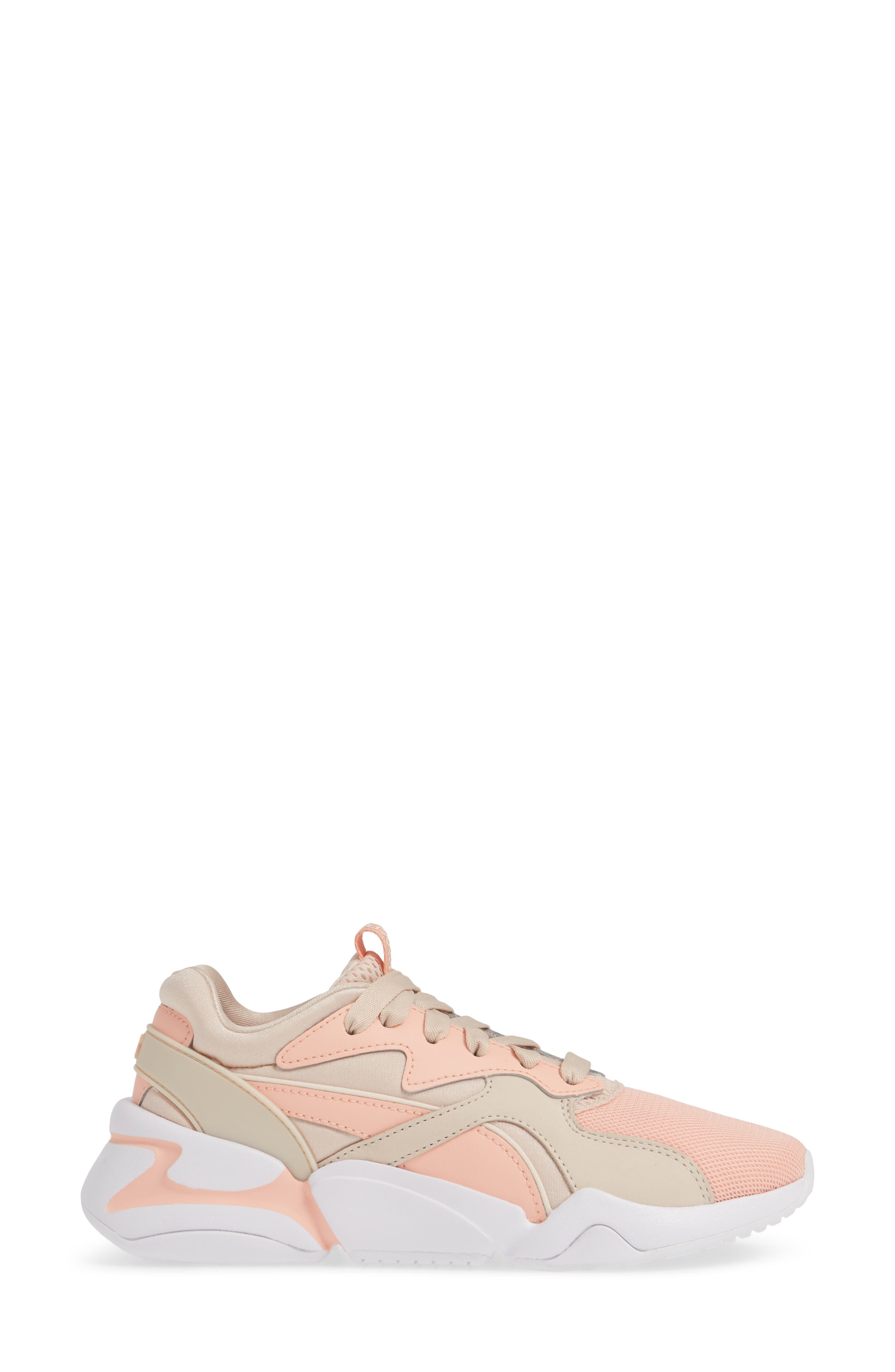 PUMA, Nova GRL PWR Sneaker, Alternate thumbnail 3, color, PEACH BUD/ PEARL BLUSH