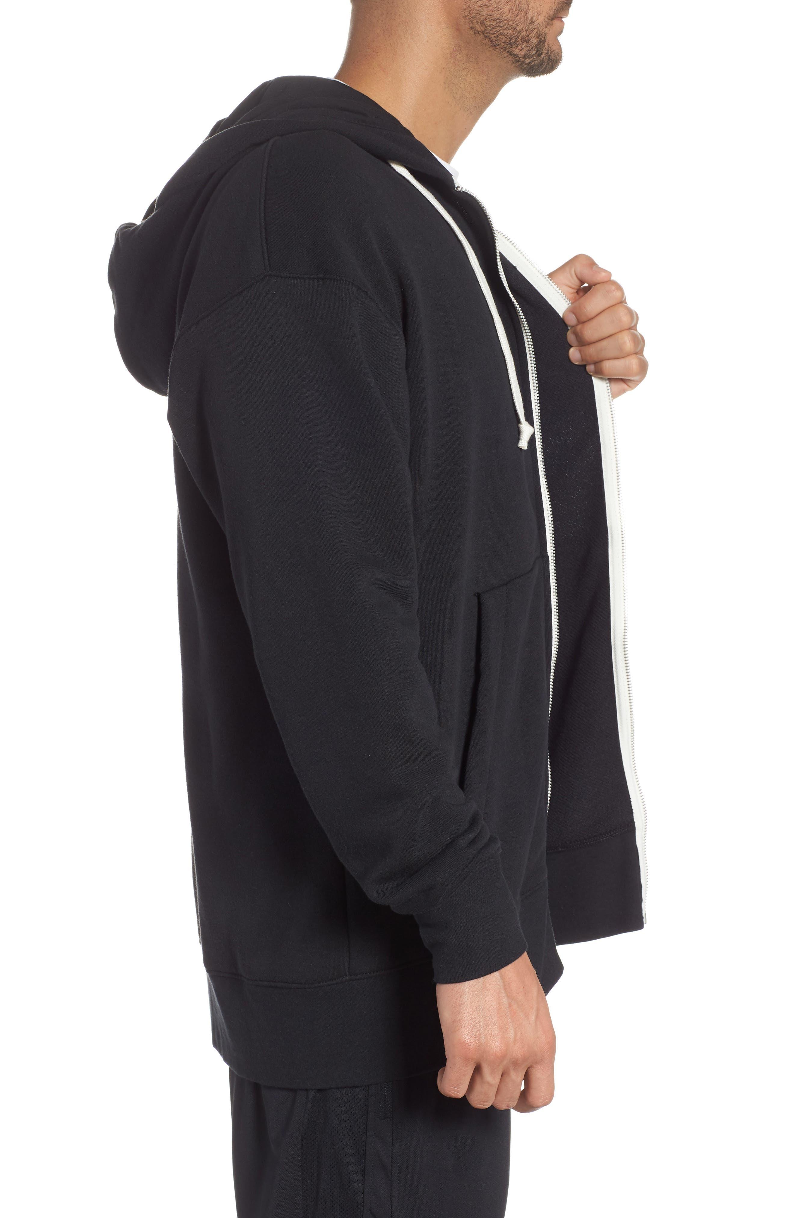 NIKE, Sportswear Heritage Zip Hoodie, Alternate thumbnail 3, color, BLACK/ SAIL