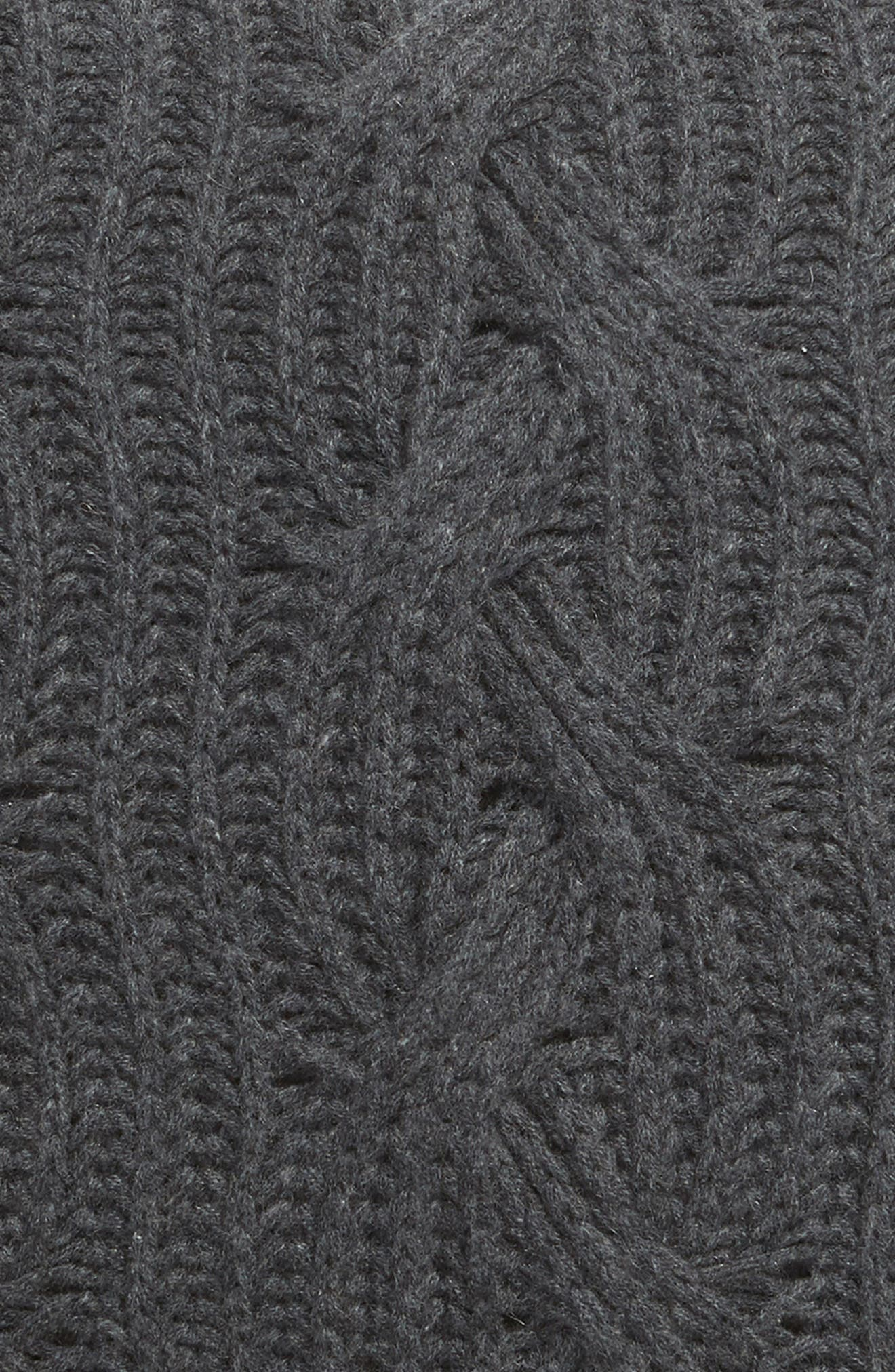 NORDSTROM SIGNATURE, Cable Knit Cashmere Accent Pillow, Alternate thumbnail 3, color, CHARCOAL HEATHER