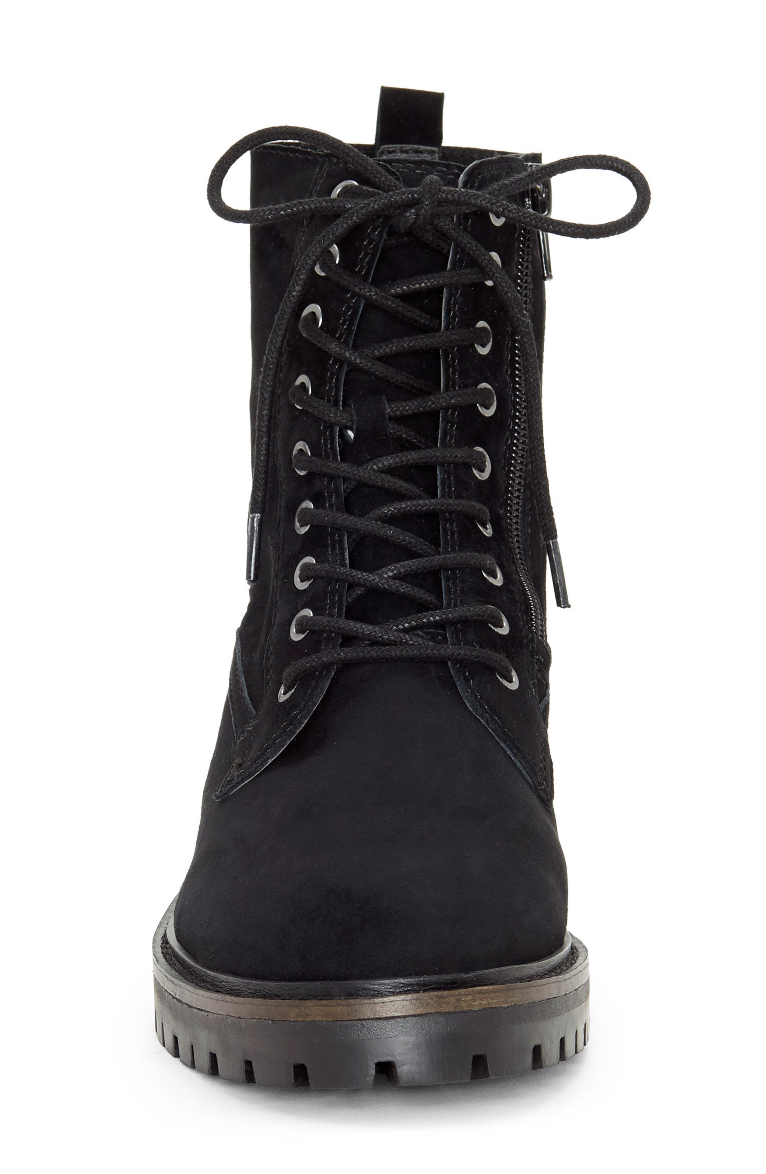LUCKY BRAND, Idara Lace-Up Bootie, Alternate thumbnail 3, color, 001