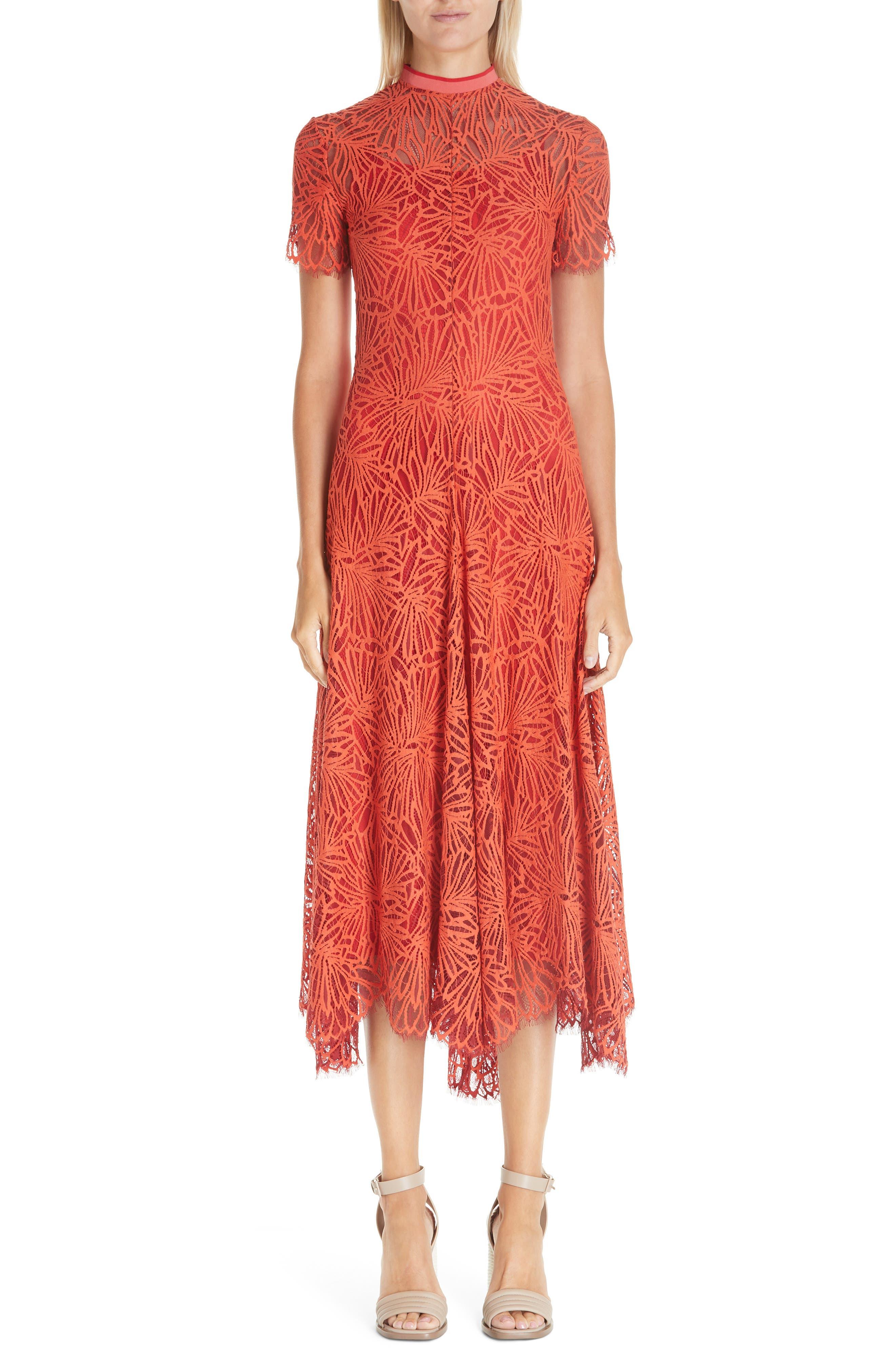 Proenza Schouler Stretch Lace Dress, Orange