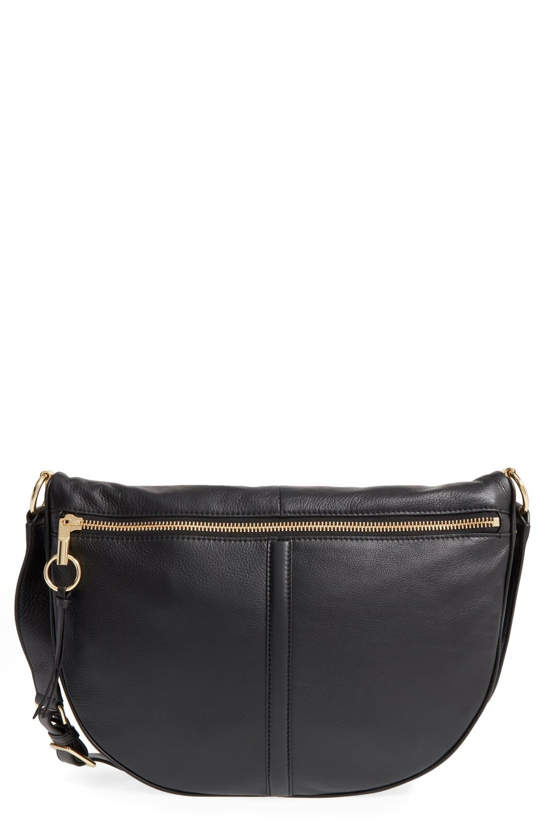ELIZABETH AND JAMES, 'Scott Moon' Leather Crossbody Bag, Main thumbnail 1, color, 001