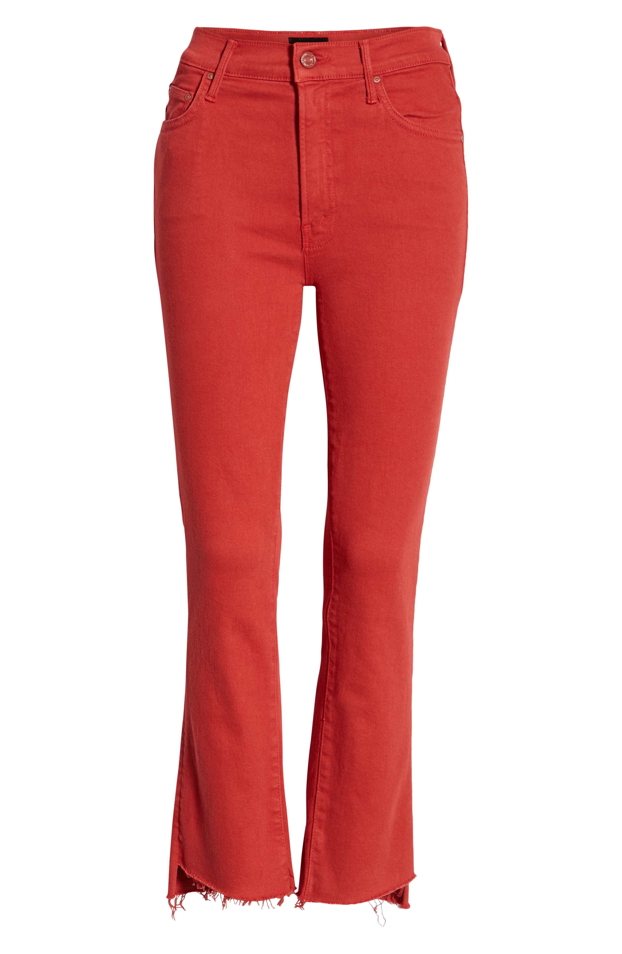 MOTHER, The Insider Step Hem Crop Jeans, Alternate thumbnail 7, color, HOT ROD RED