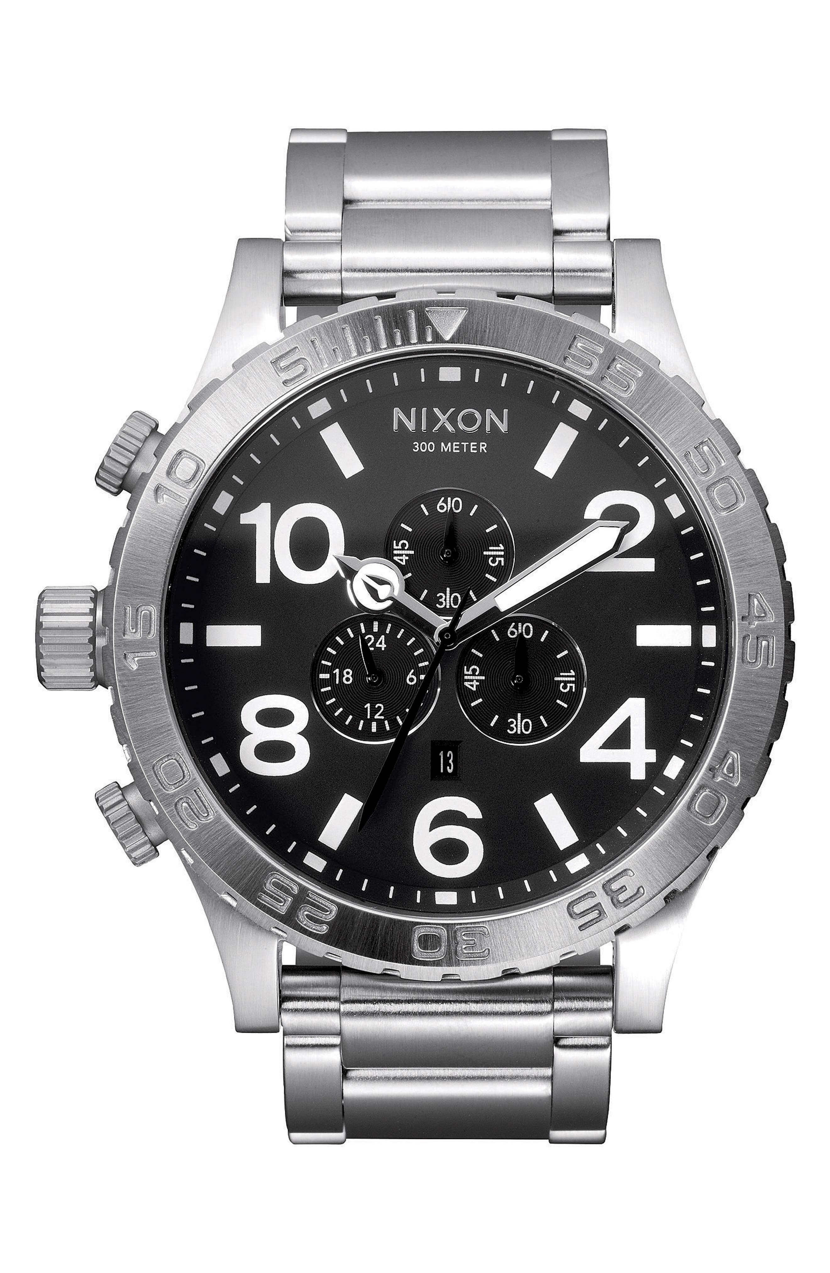 NIXON, 'The 51-30 Chrono' Watch, 51mm, Main thumbnail 1, color, SILVER/ BLACK/ SILVER