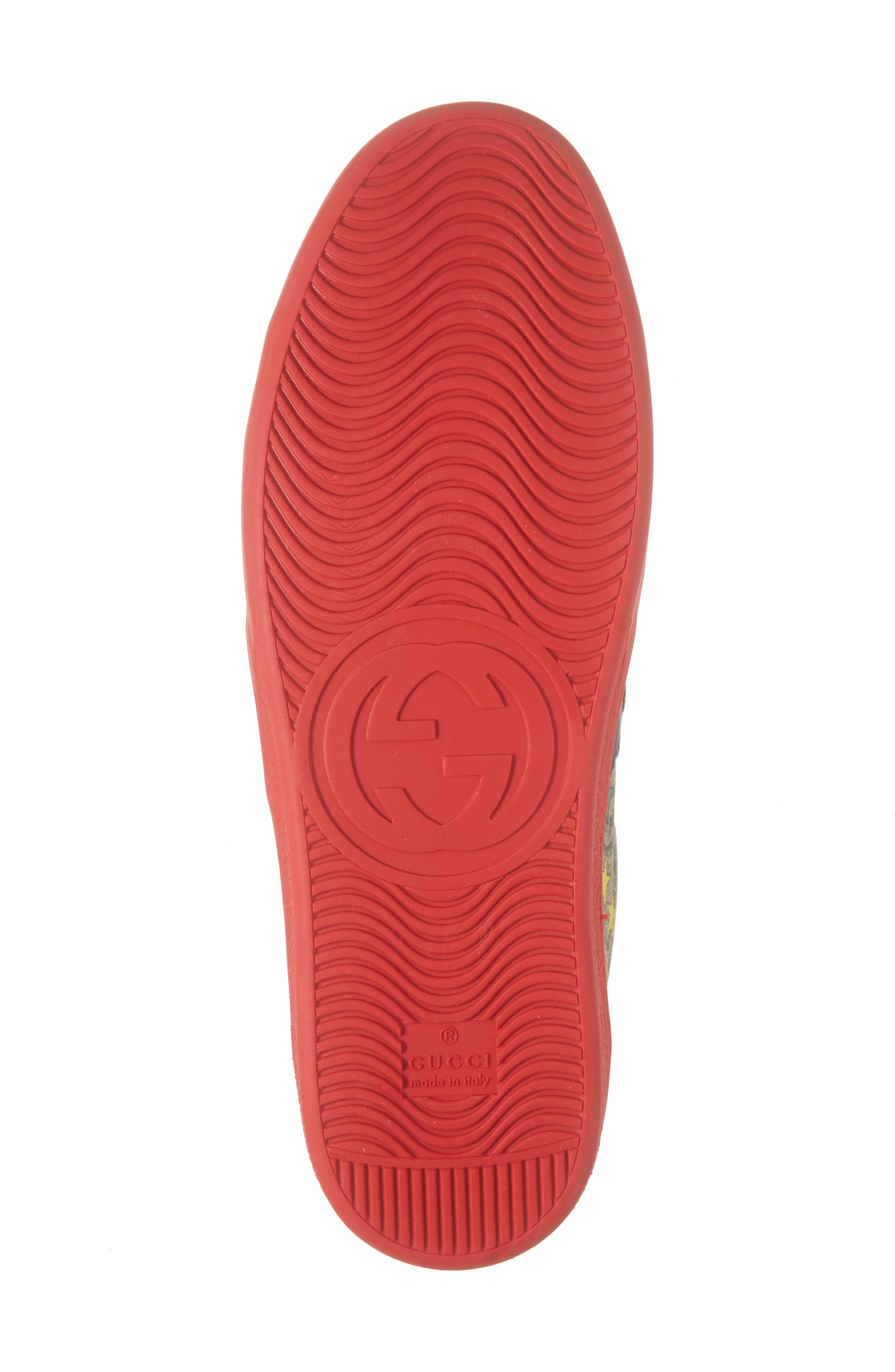 GUCCI, New Ace Sneaker, Alternate thumbnail 6, color, RED/ BEIGE/ EBONY