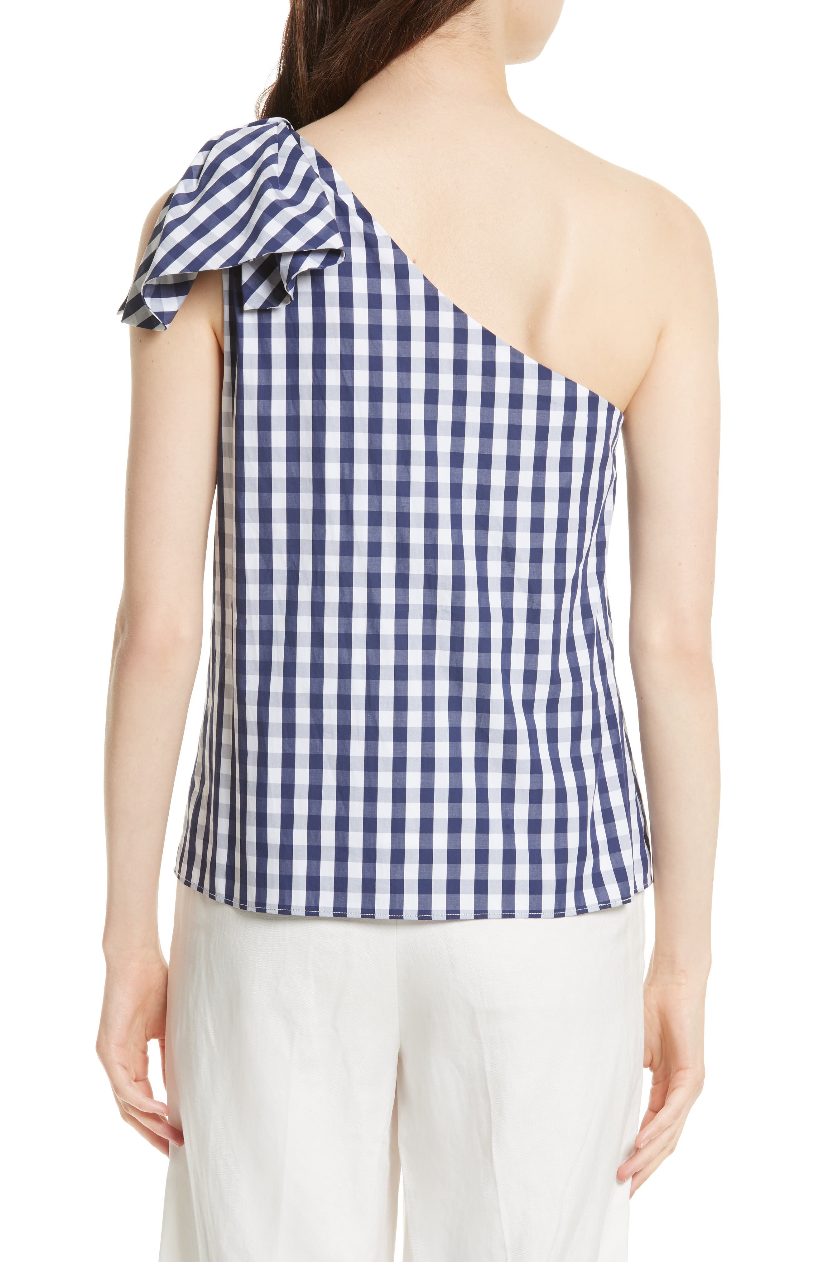 MILLY, Cindy One Shoulder Gingham Top, Alternate thumbnail 2, color, 410