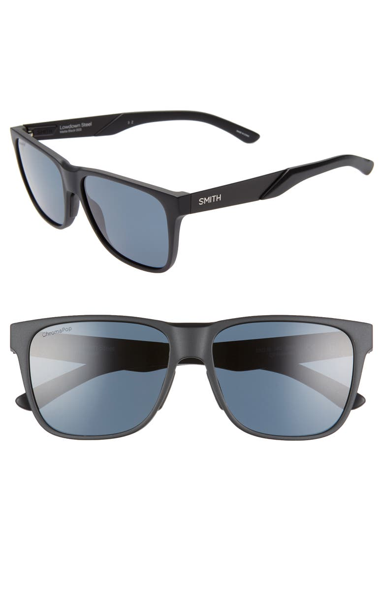 Smith Sunglasses LOWDOWN STEEL 56MM CHROMAPOP(TM) POLARIZED SUNGLASSES - MATTE BLACK/ BLACK