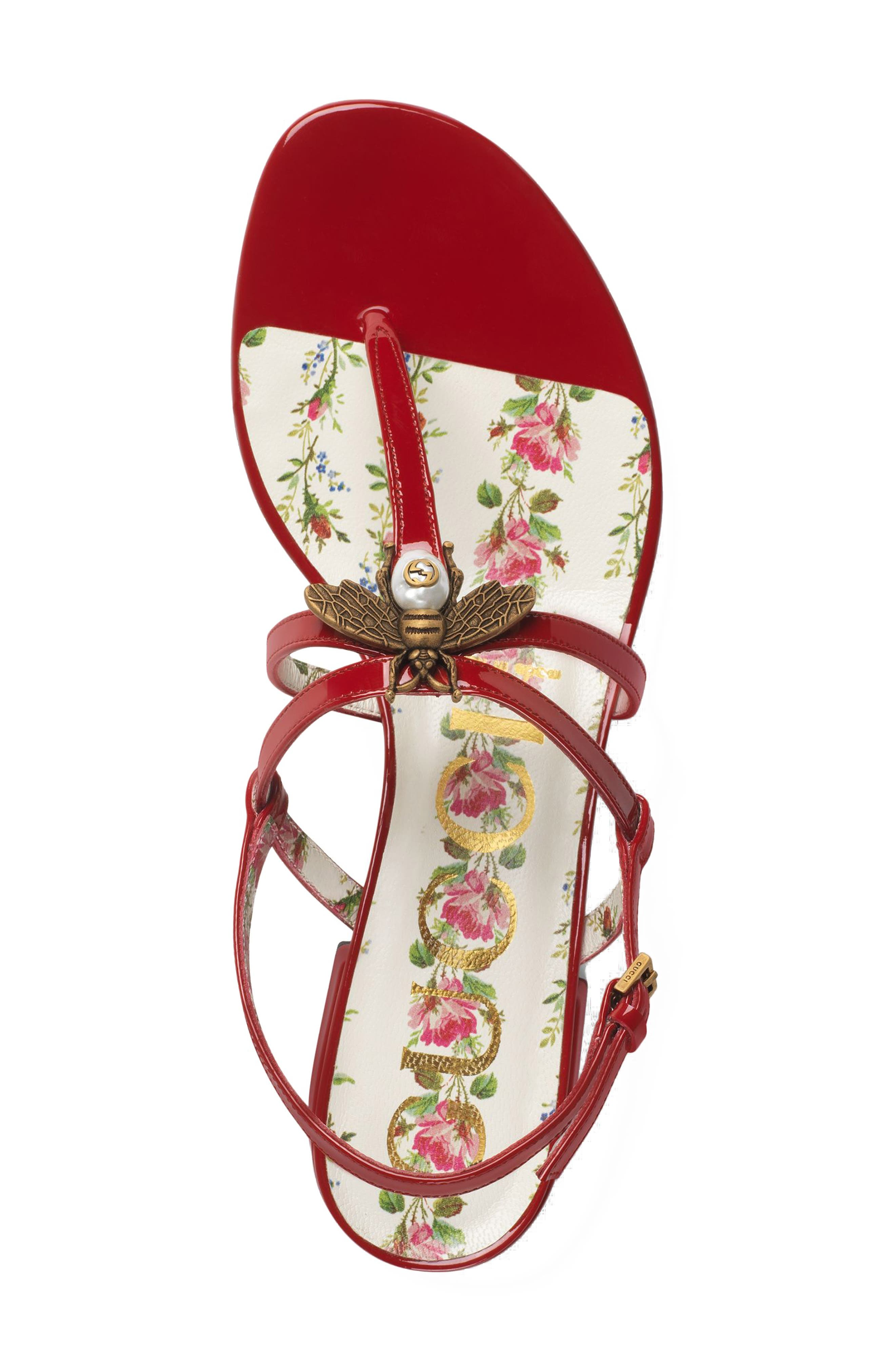 GUCCI, Bee Thong Sandal, Alternate thumbnail 3, color, HIBISCUS RED