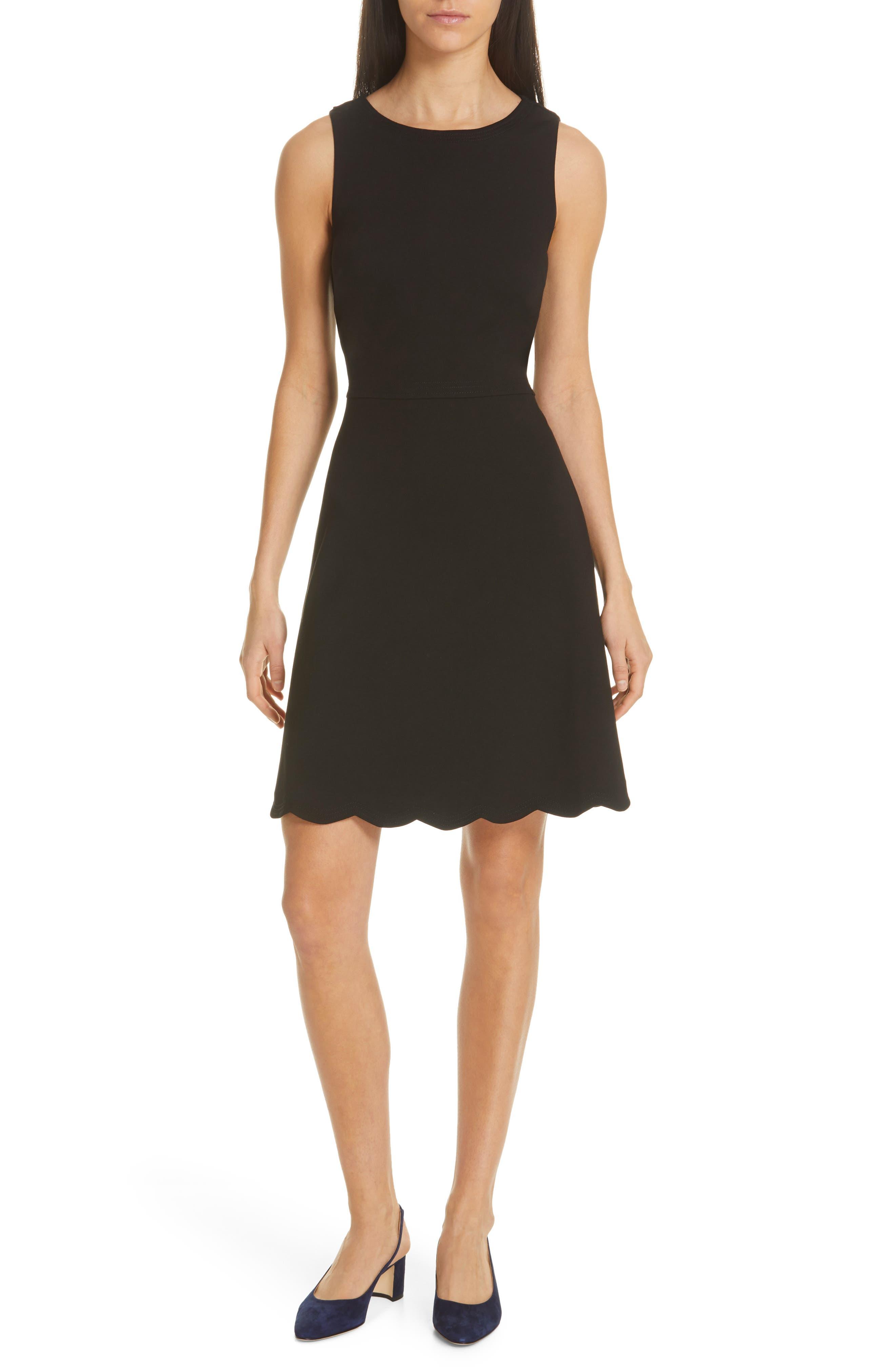 Kate Spade New York Scalloped Ponte Dress, Black