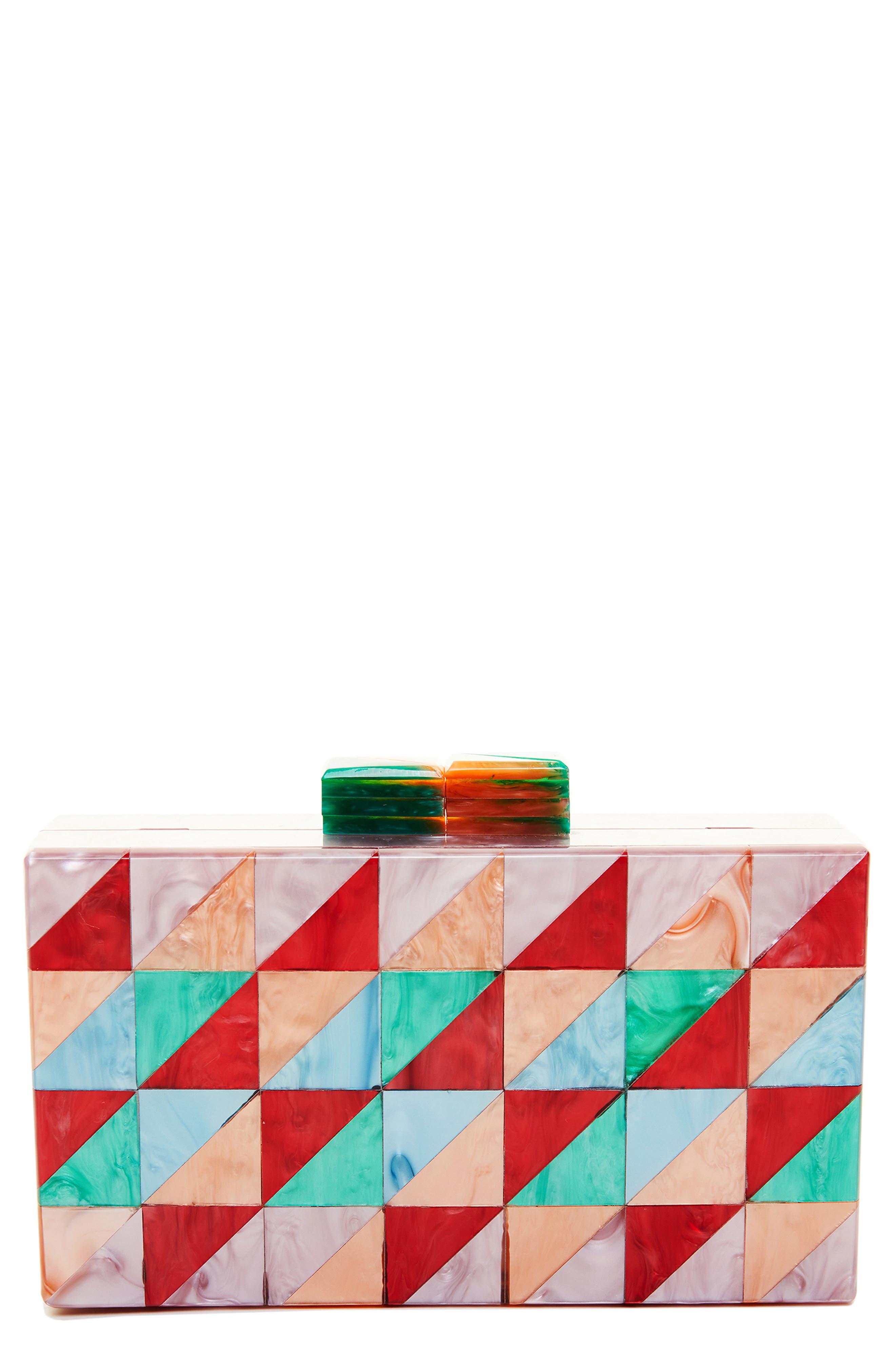LIKE DREAMS, Geometric Box Clutch, Main thumbnail 1, color, MULTI