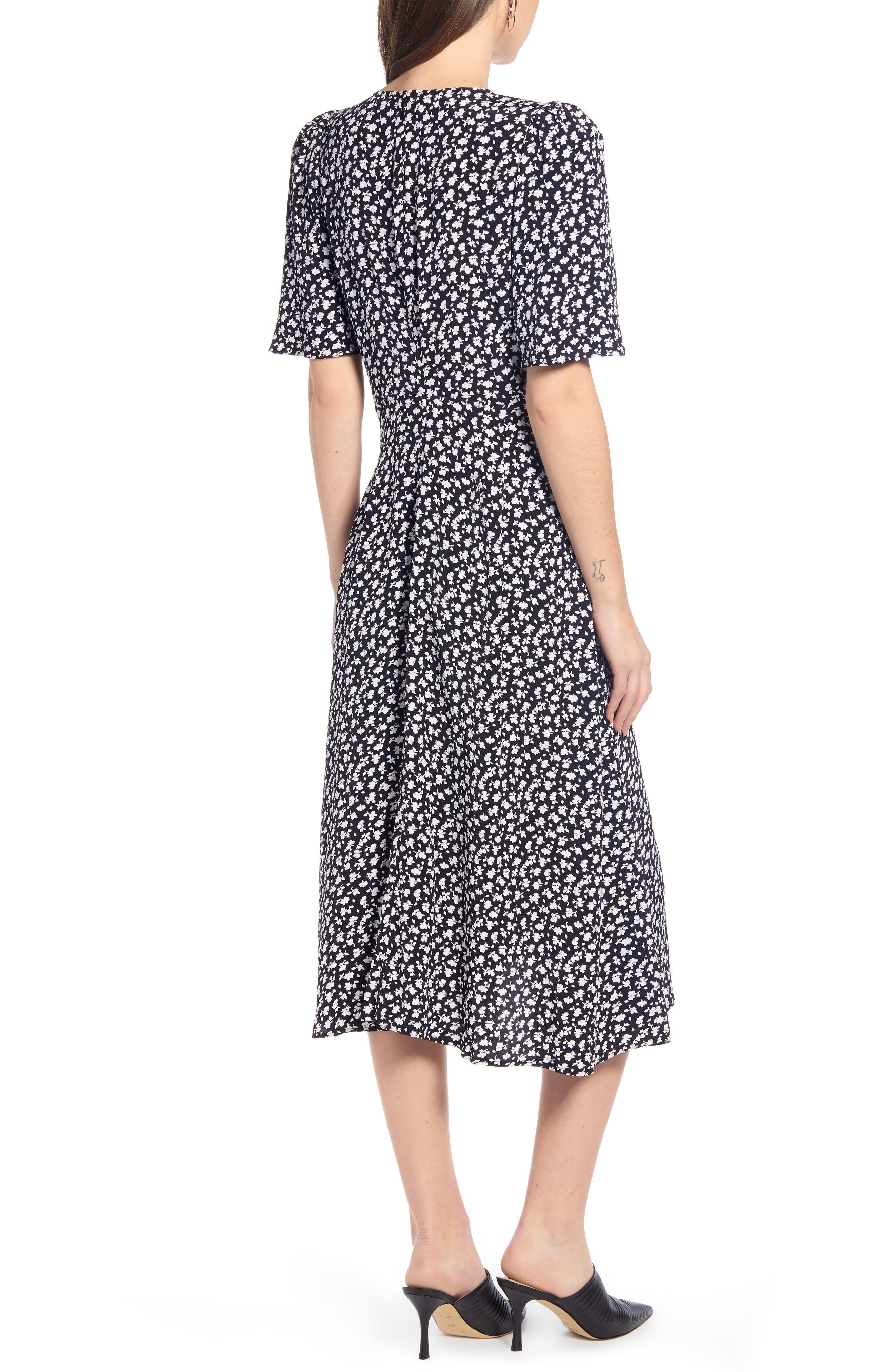 SOMETHING NAVY, Strong Shoulder Floral Print Midi Dress, Alternate thumbnail 4, color, SN BLACK VINTAGE FLORAL