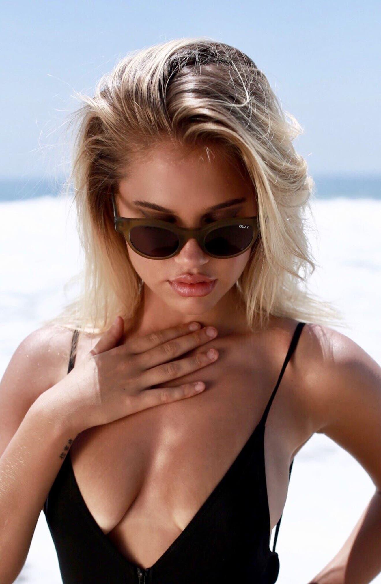QUAY AUSTRALIA, Starstruck 48mm Cat Eye Sunglasses, Alternate thumbnail 5, color, 300