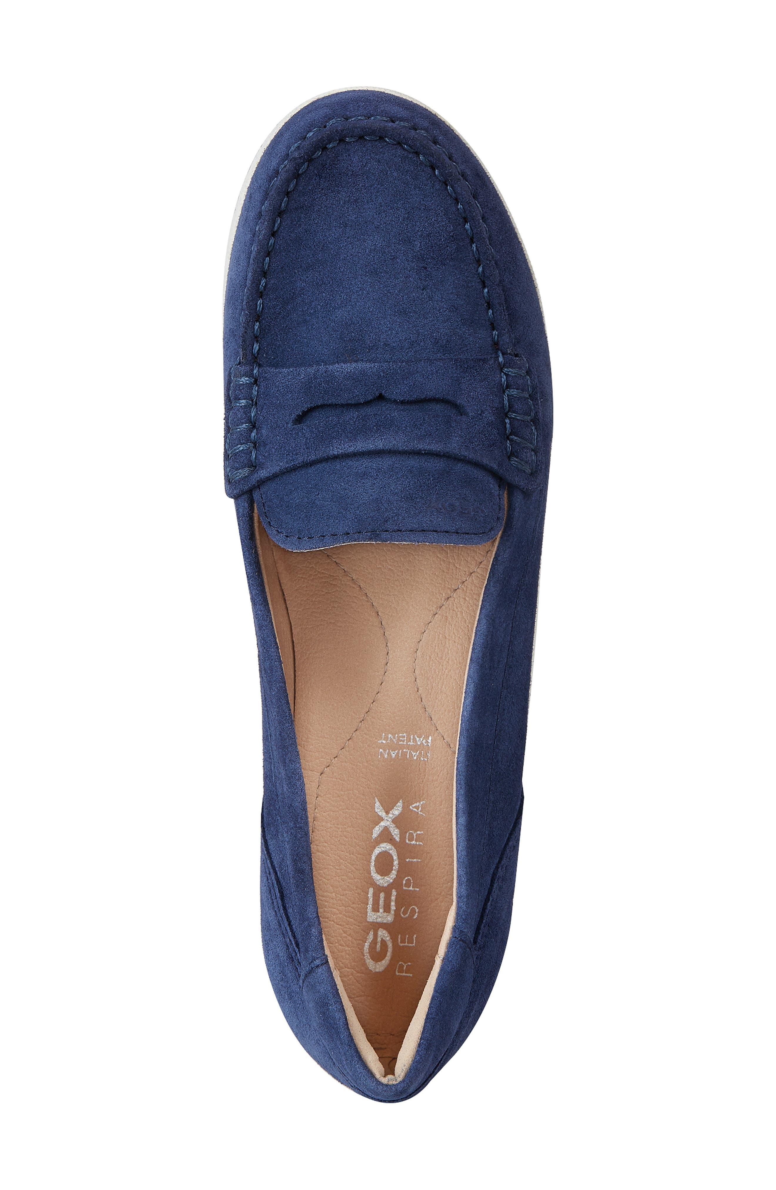 GEOX, Vega Moc Loafer, Alternate thumbnail 5, color, BLUE SUEDE