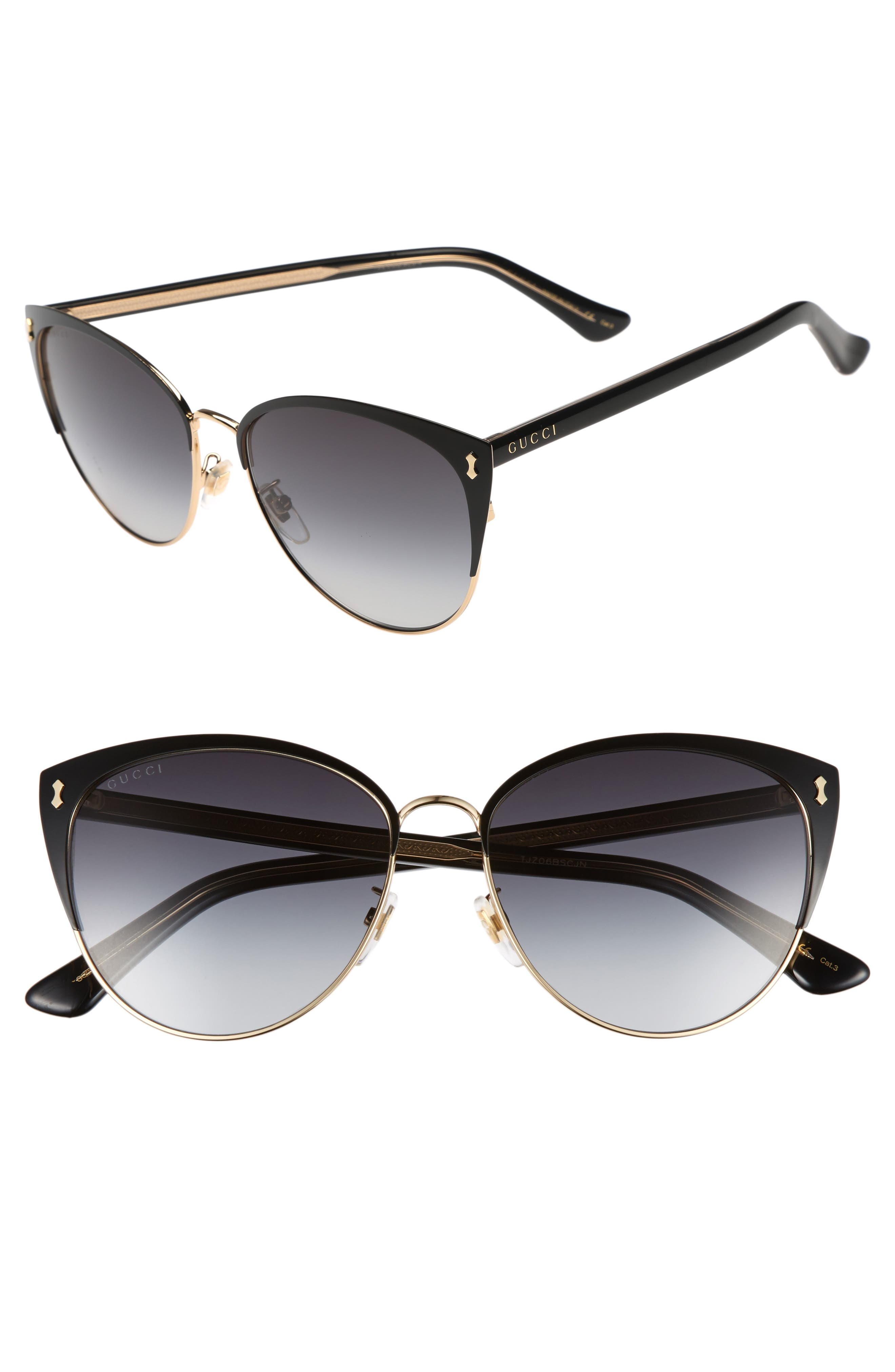 GUCCI, 58mm Cat Eye Sunglasses, Main thumbnail 1, color, BLACK