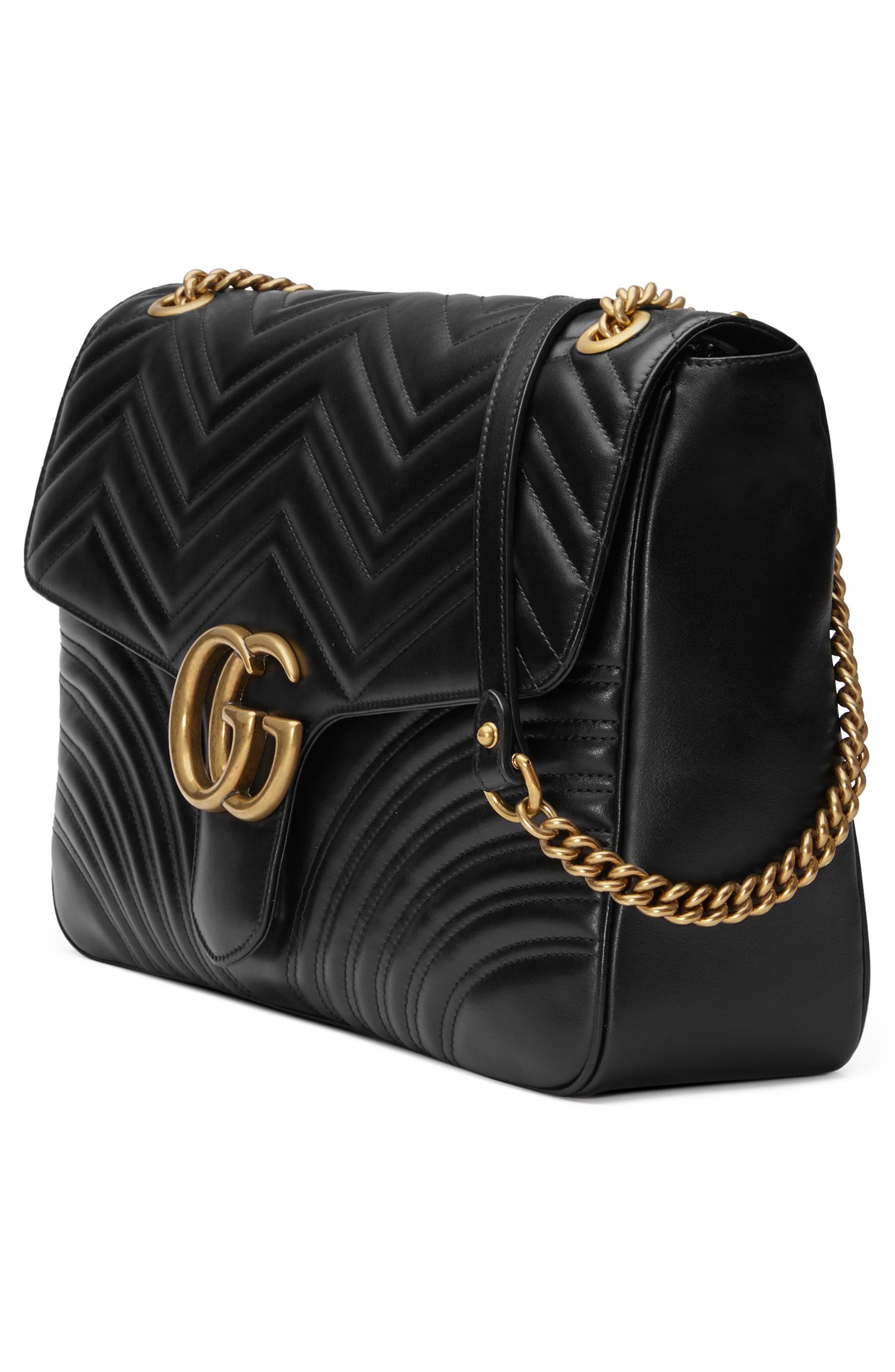 GUCCI, GG Large Marmont 2.0 Matelassé Leather Shoulder Bag, Alternate thumbnail 7, color, NERO
