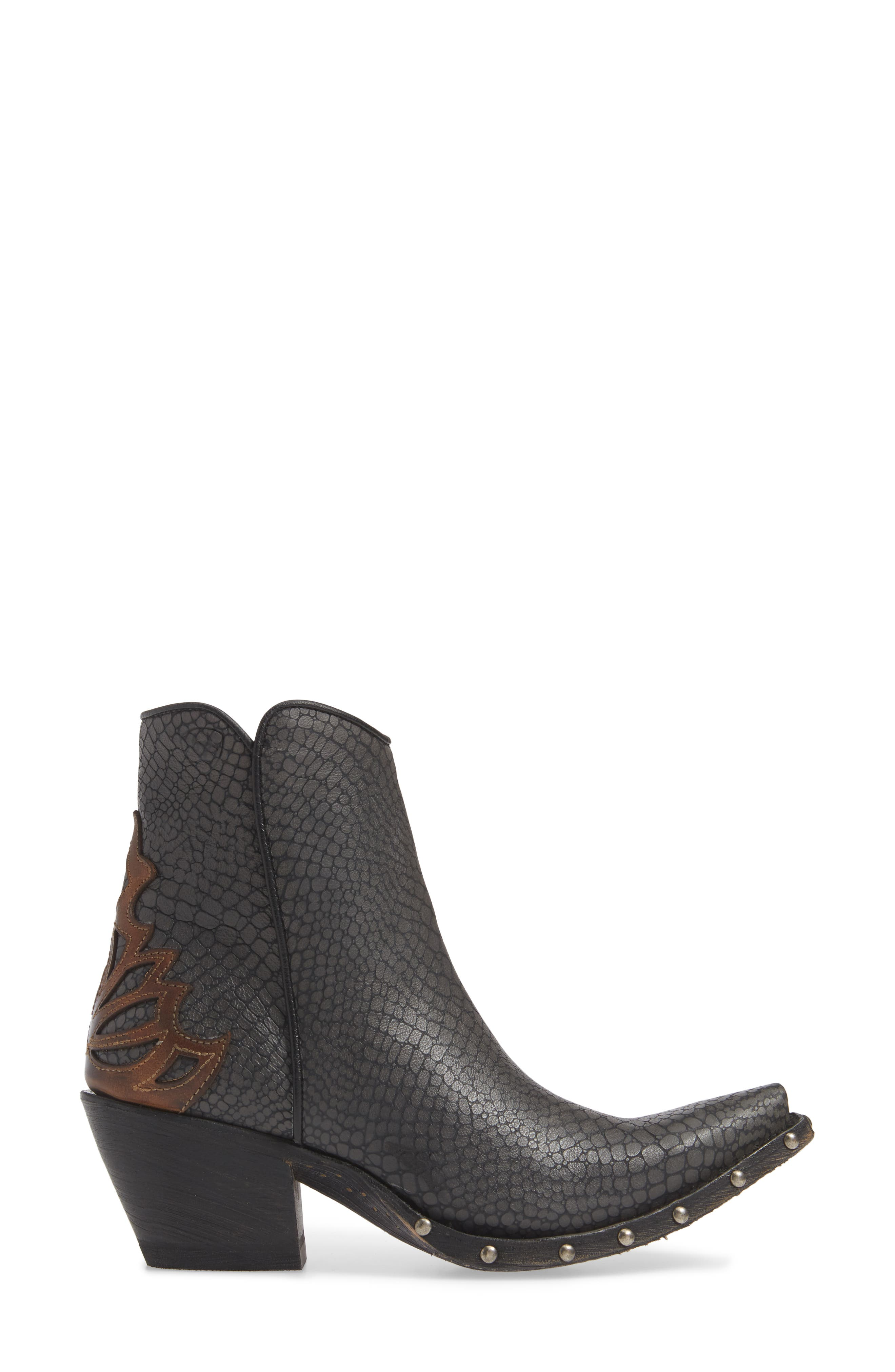 ARIAT, Fenix Western Bootie, Alternate thumbnail 3, color, CHIC GREY CRACKLED TAN LEATHER