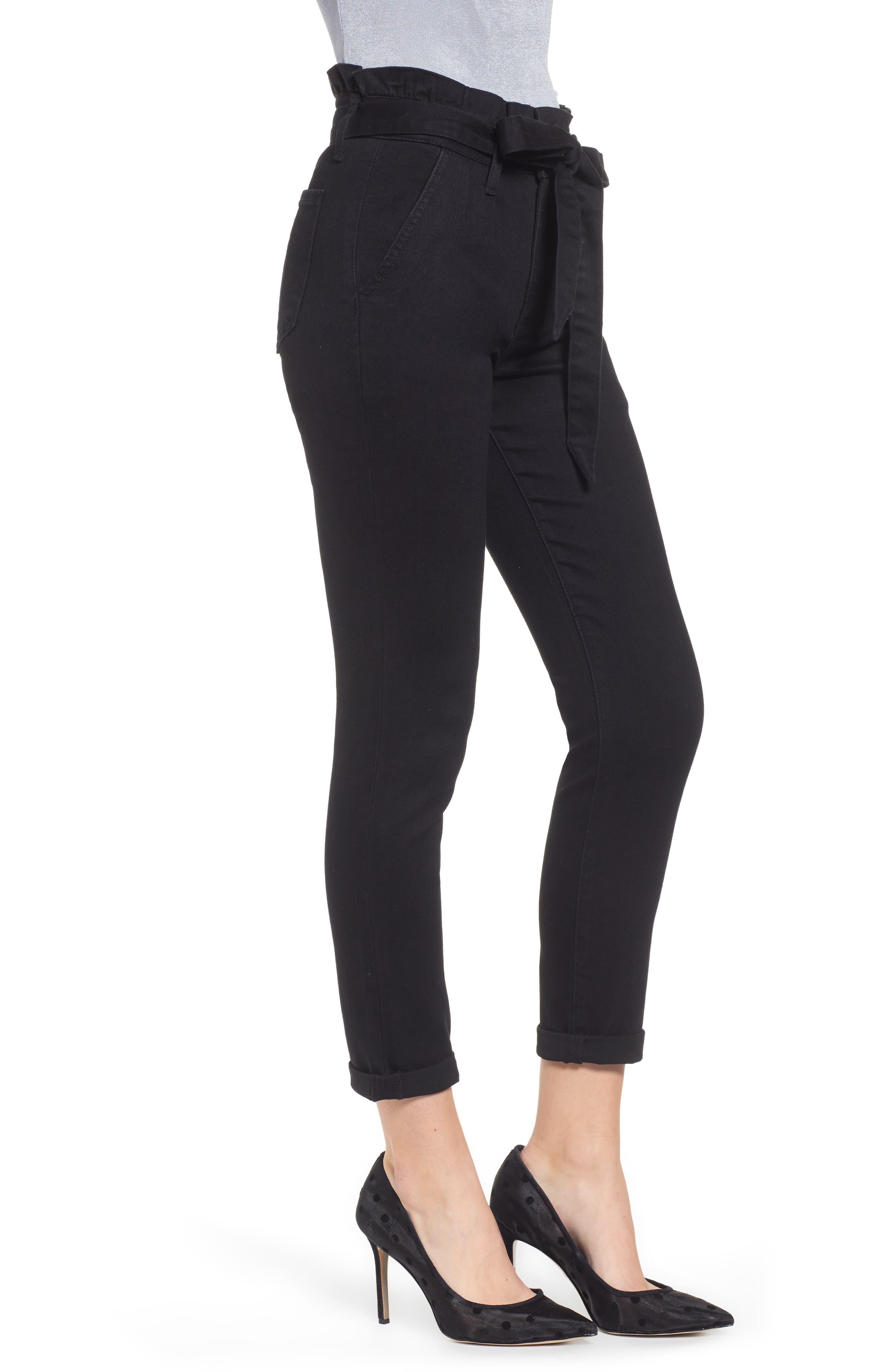 PROSPERITY DENIM, Paperbag Waist Skinny Jeans, Alternate thumbnail 4, color, BLACK