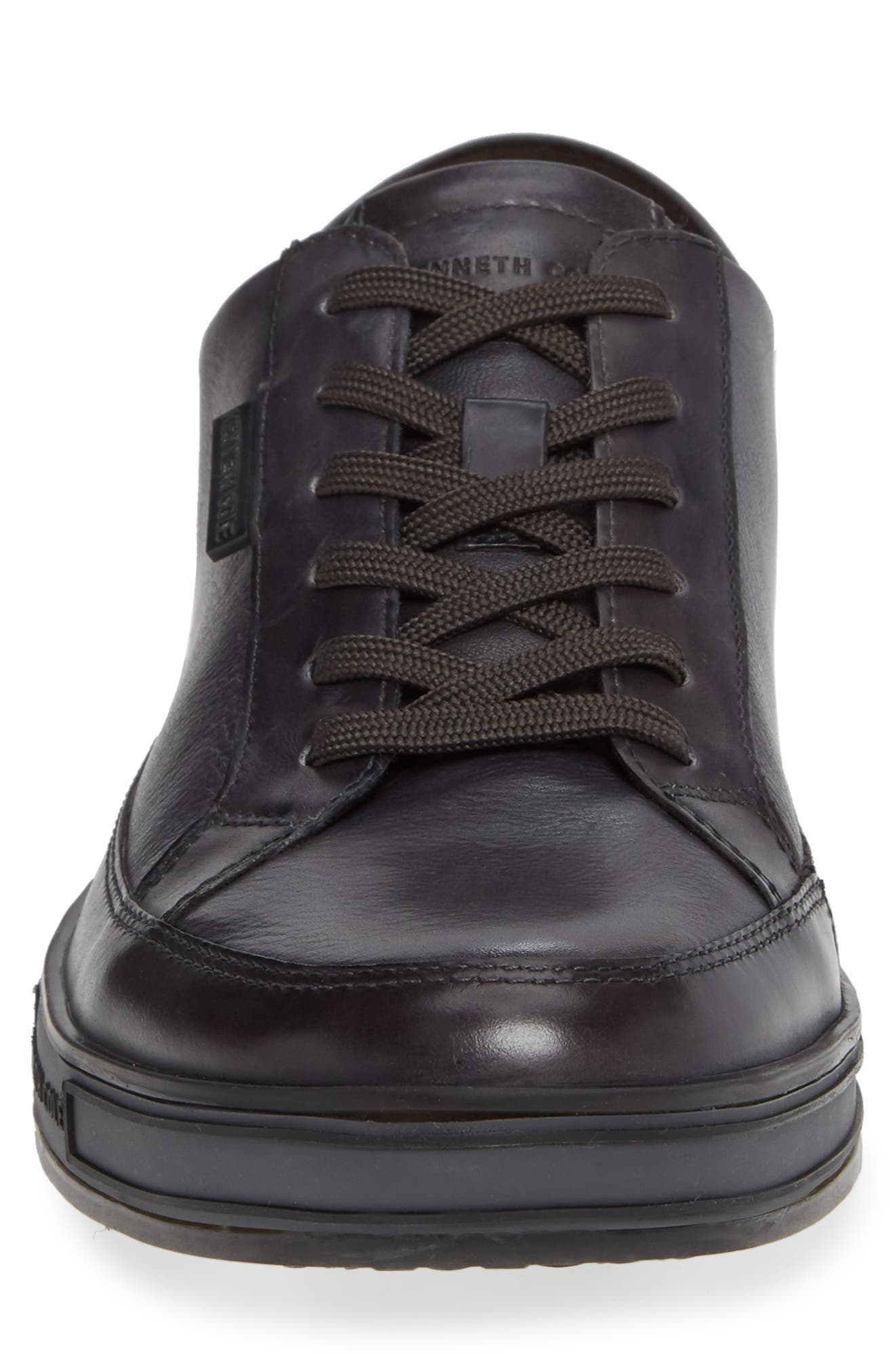 KENNETH COLE NEW YORK, Brand Stand Low Top Sneaker, Alternate thumbnail 4, color, GREY TUMBLED LEATHER/ LEATHER