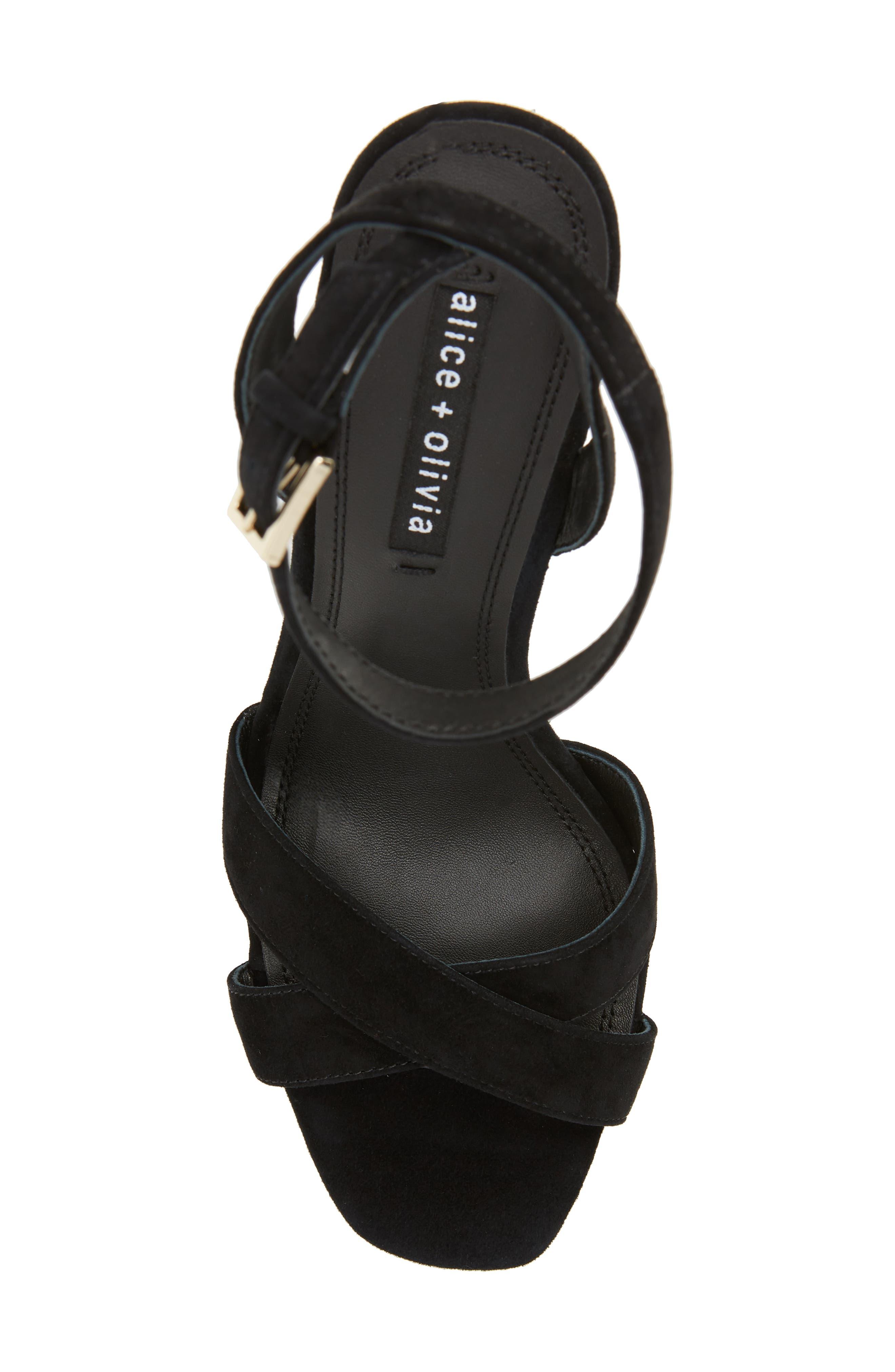 ALICE + OLIVIA, Renia Crystal Heel Sandal, Alternate thumbnail 5, color, BLACK
