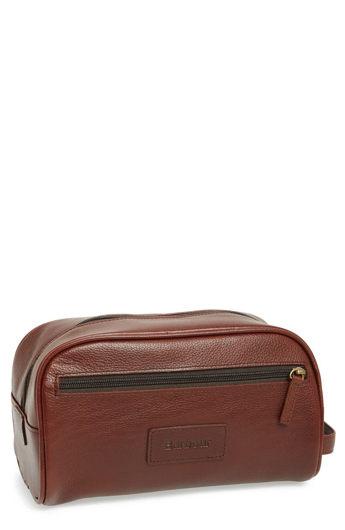 BARBOUR, Leather Travel Kit, Main thumbnail 1, color, DARK BROWN