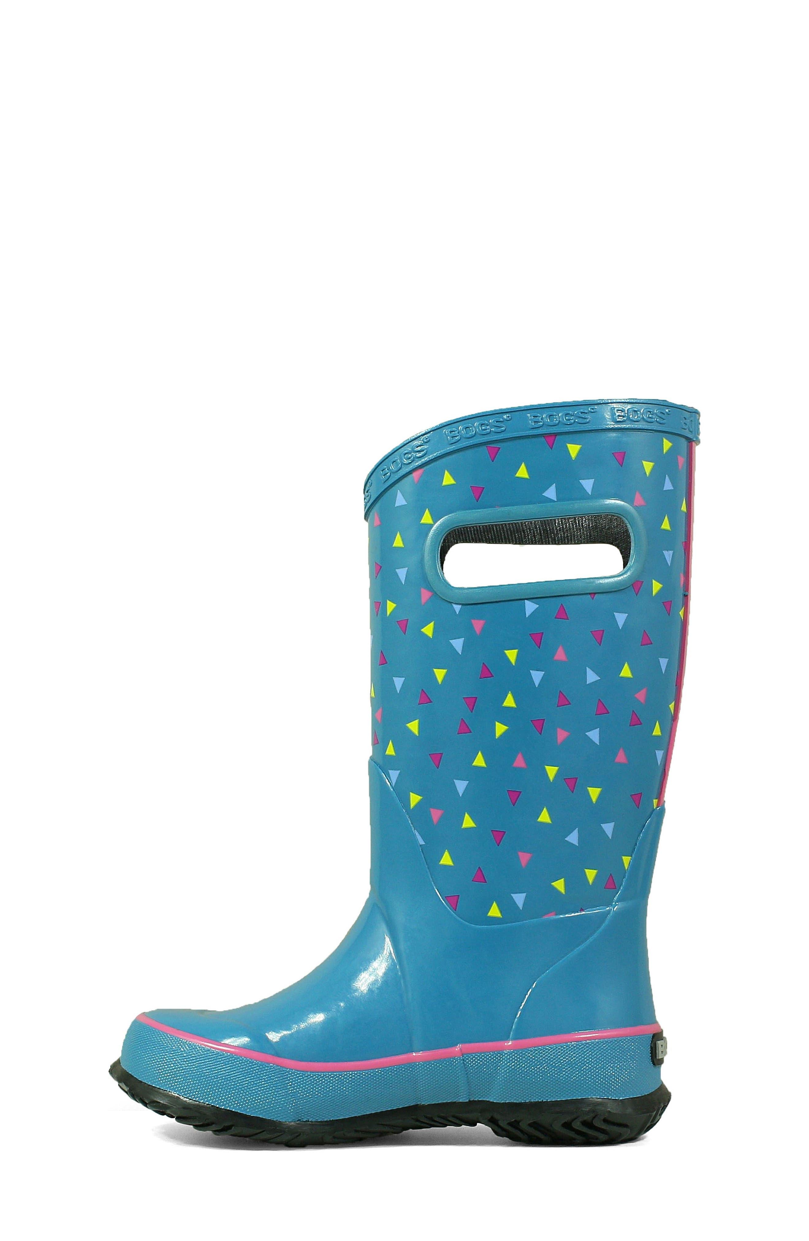 BOGS, Dots Waterproof Rain Boot, Alternate thumbnail 8, color, DARK BLUE MULTI