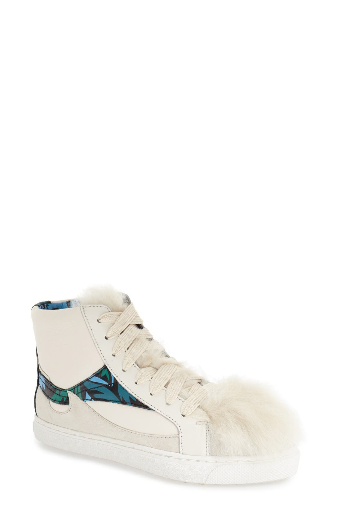 COACH, Genuine Shearling High Top Sneaker, Main thumbnail 1, color, 188