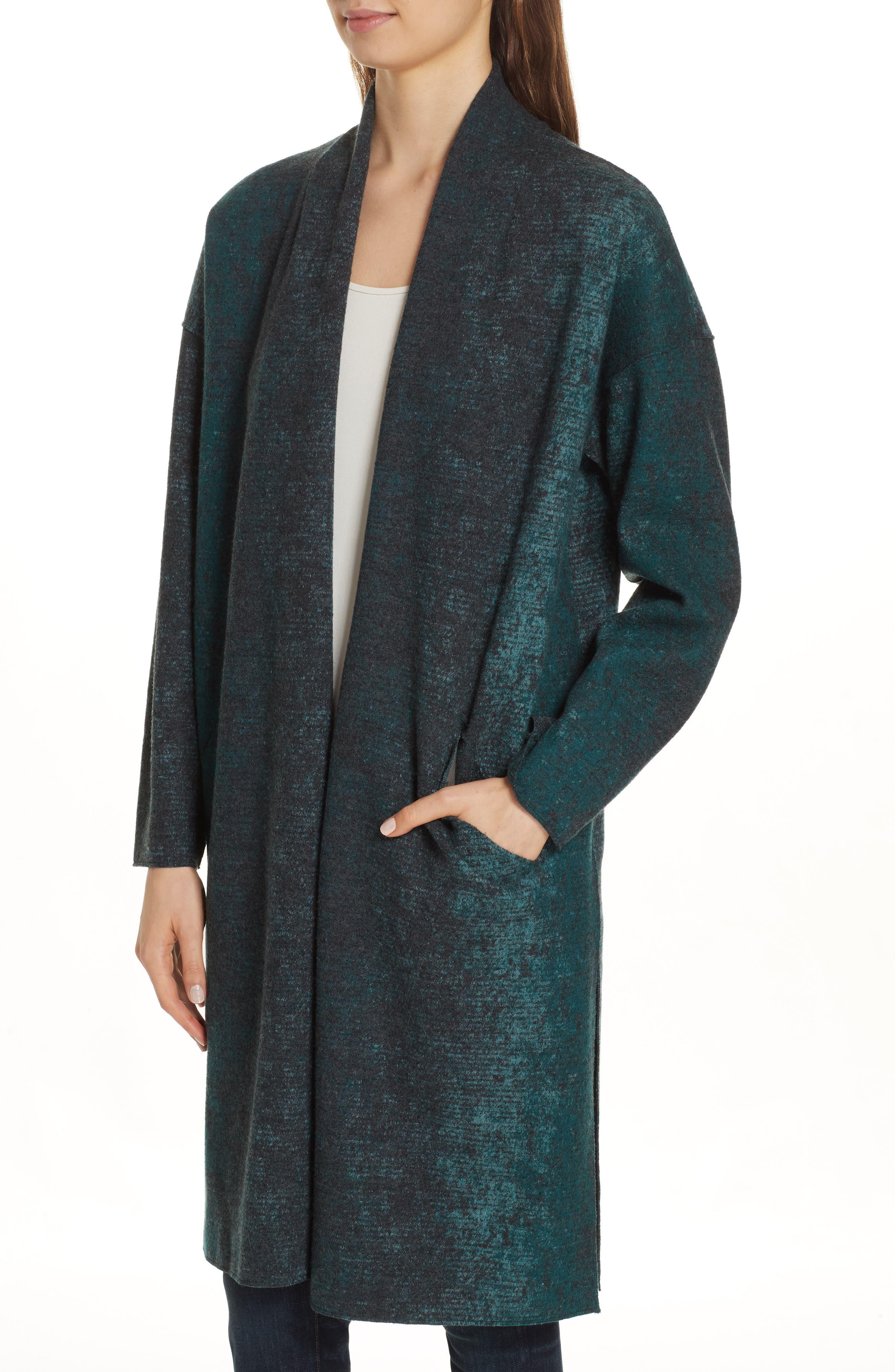 EILEEN FISHER, Wool Blend Kimono Coat, Alternate thumbnail 5, color, PINE