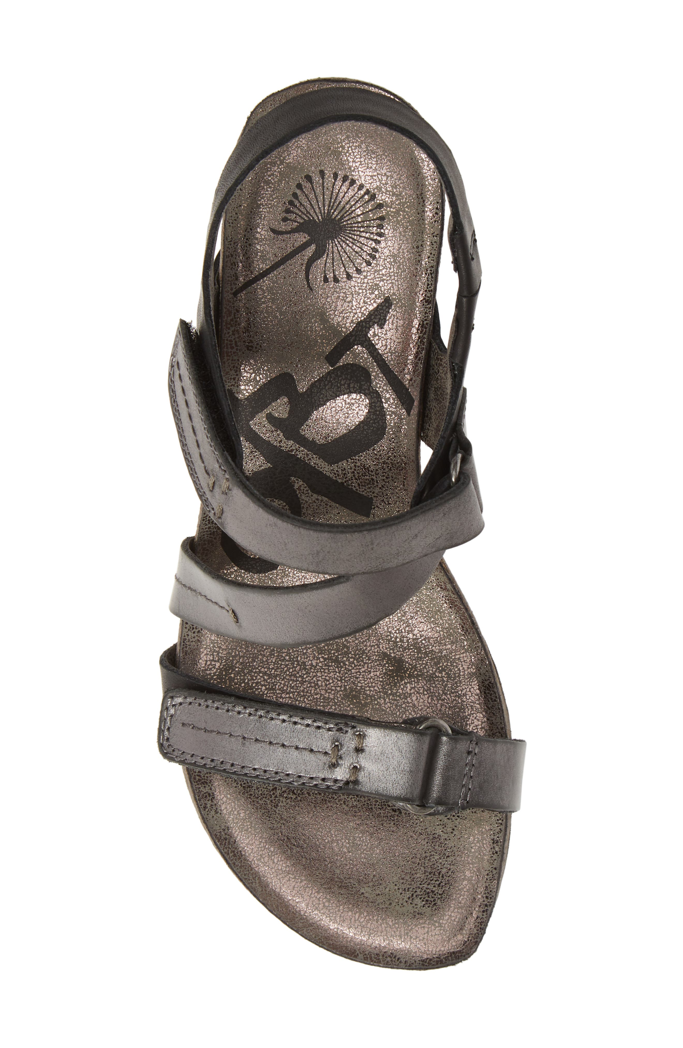 OTBT, Wavey Wedge Sandal, Alternate thumbnail 5, color, NEW BLACK LEATHER