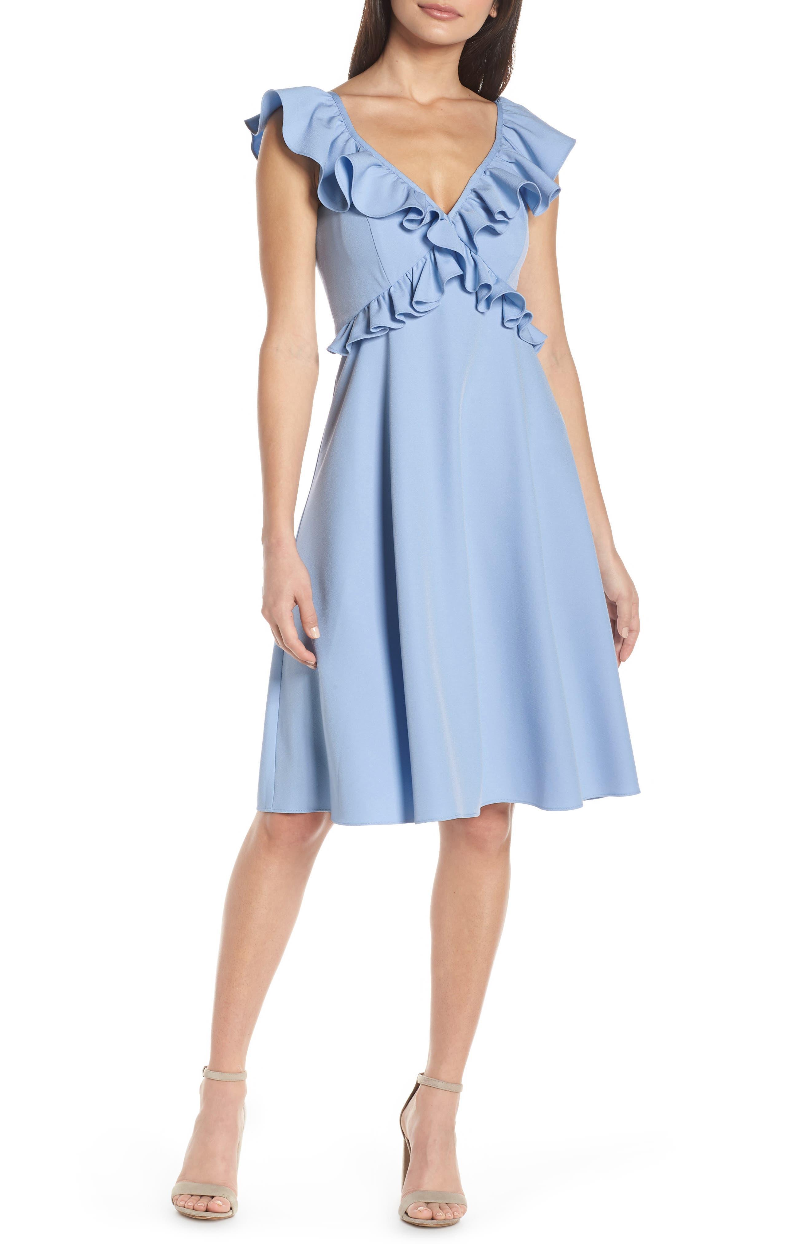 Chelsea28 Crisscross Ruffle Fit & Flare Dress, Blue