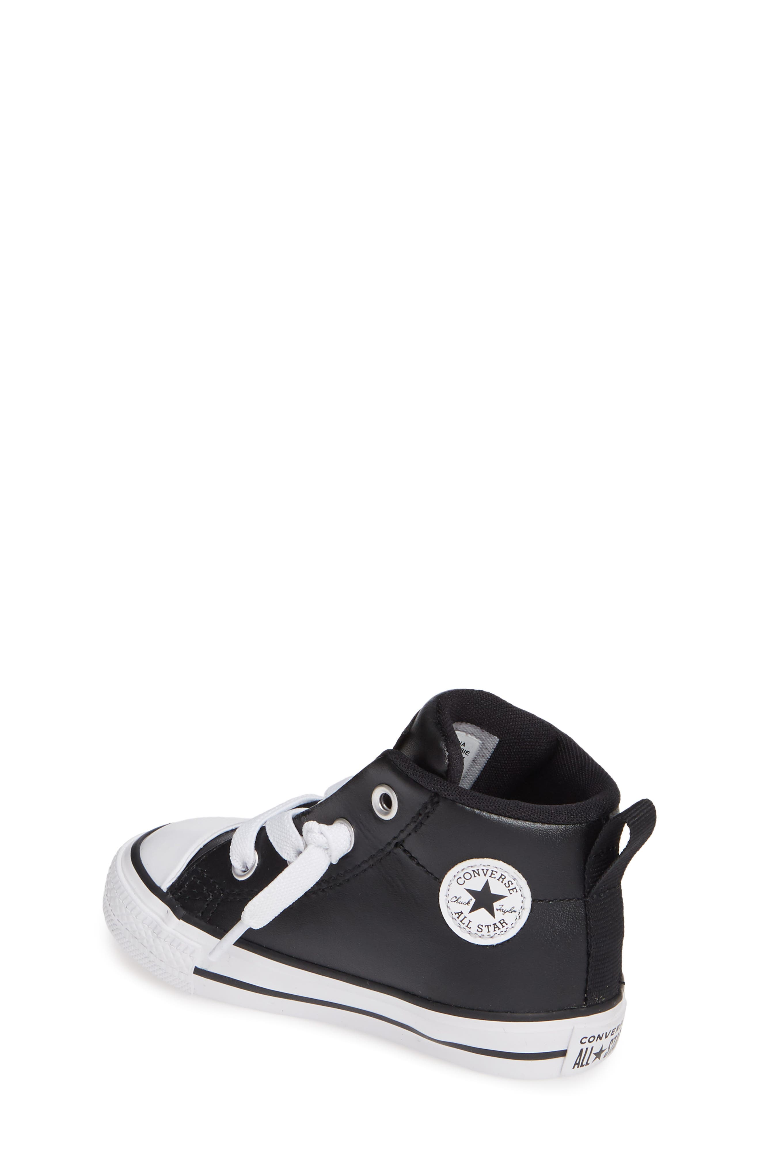 CONVERSE, Chuck Taylor<sup>®</sup> All Star<sup>®</sup> Street Mid Top Sneaker, Alternate thumbnail 2, color, BLACK/ BLACK/ WHITE