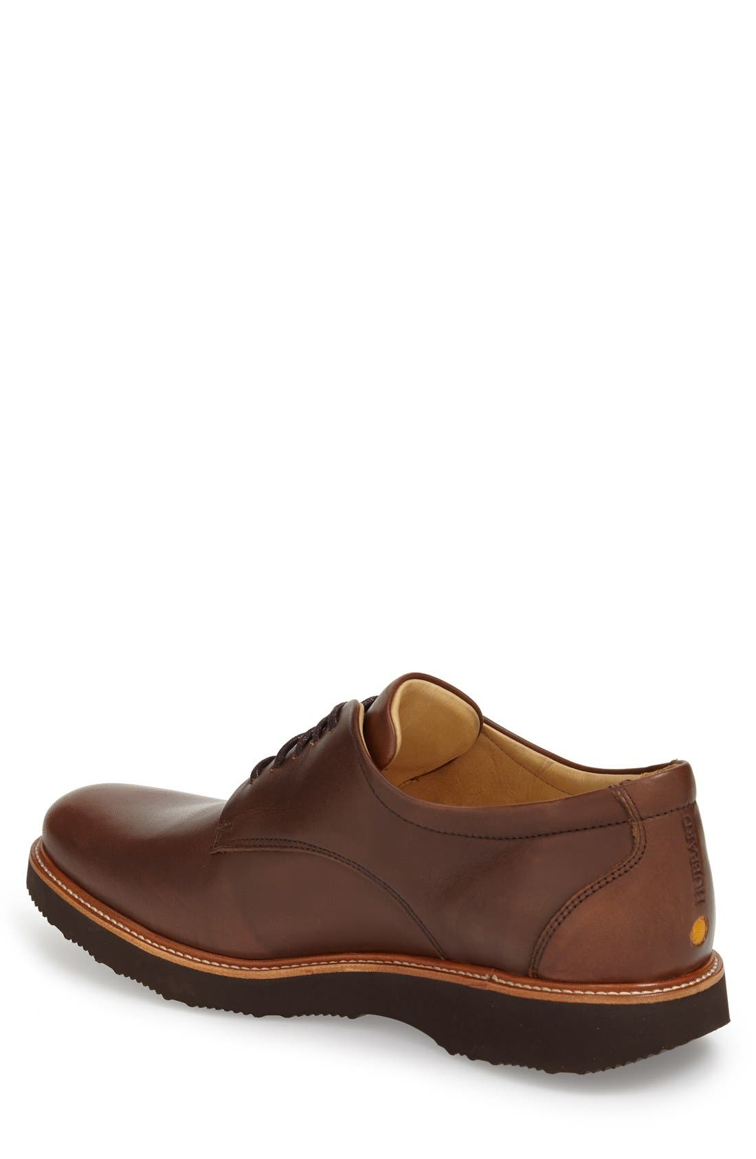 SAMUEL HUBBARD, 'Founder' Plain Toe Derby, Alternate thumbnail 2, color, CHESTNUT LEATHER