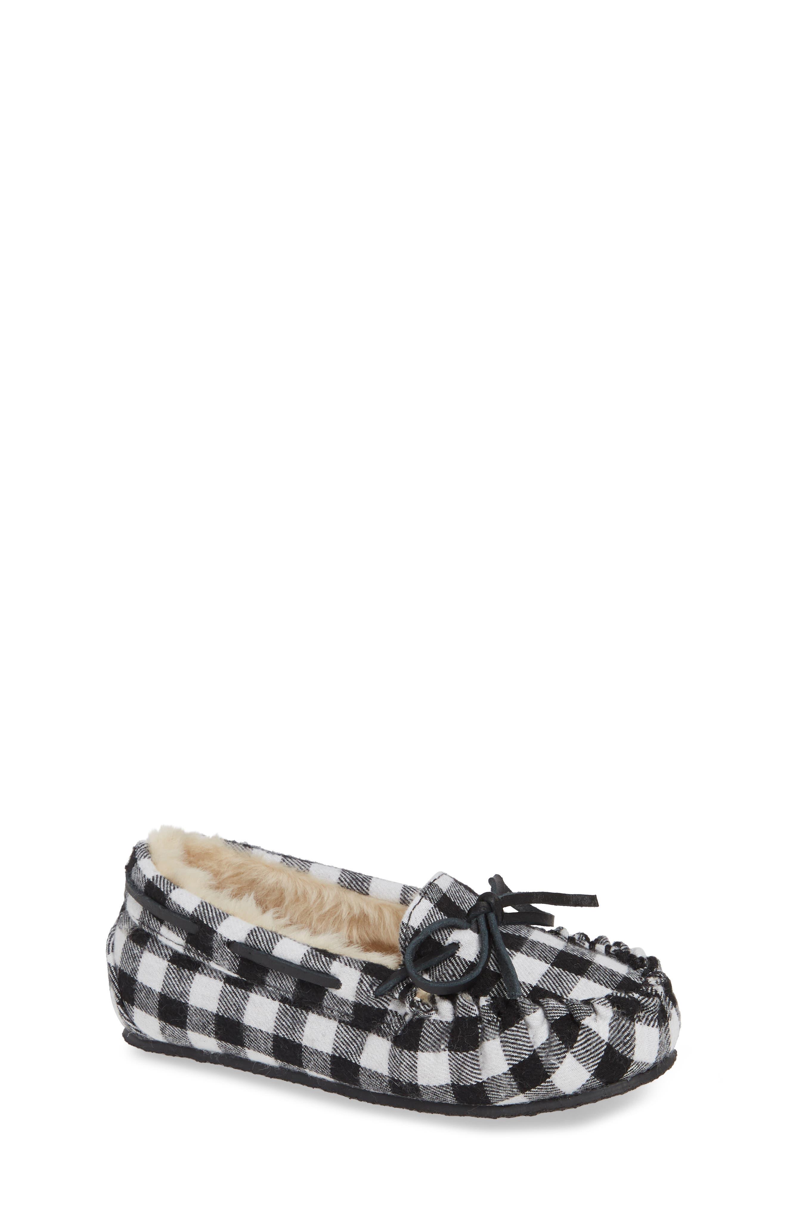 MINNETONKA 'Cassie' Slipper, Main, color, BLACK PLAID