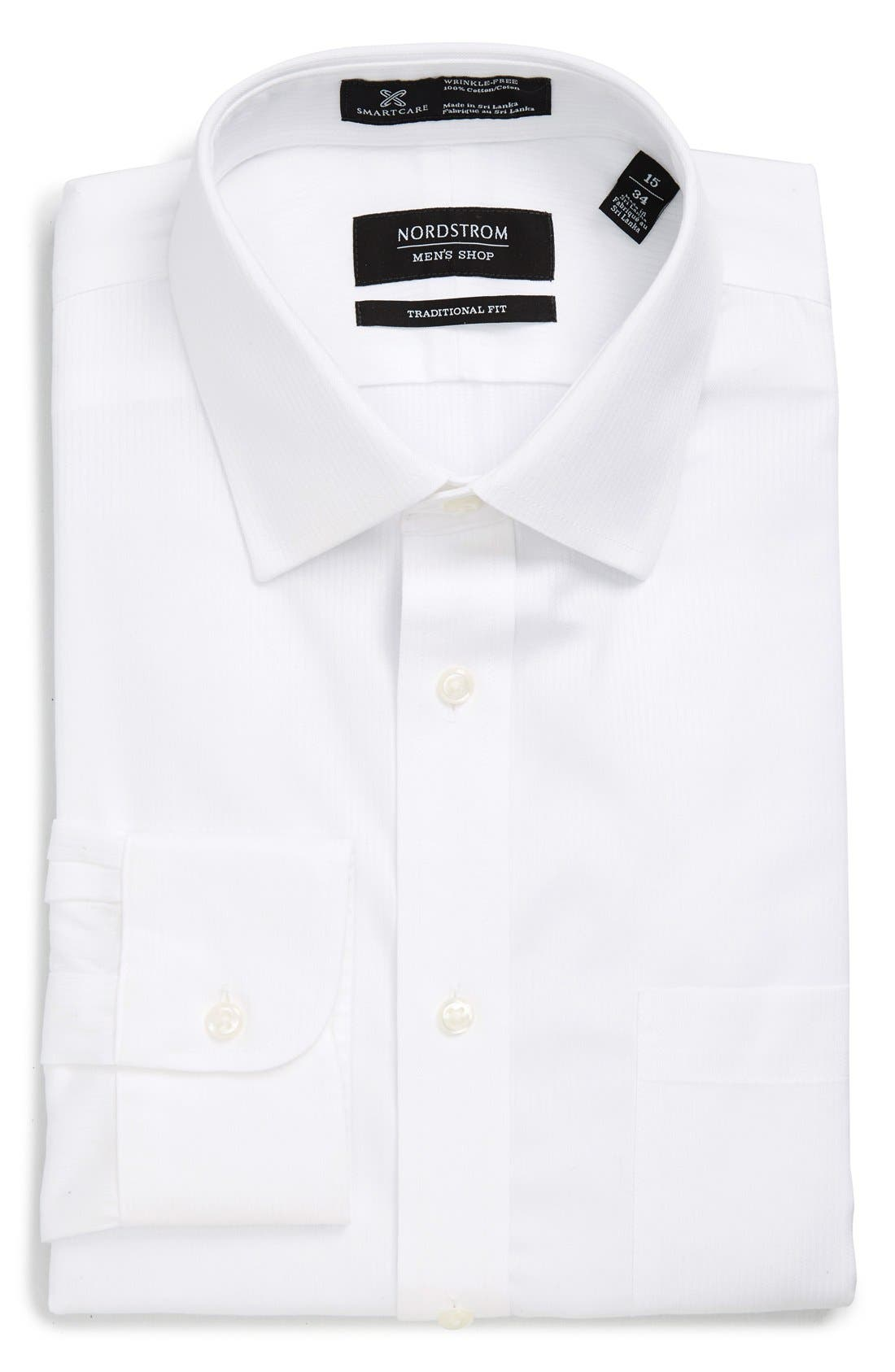 NORDSTROM MEN'S SHOP, Smartcare<sup>™</sup> Traditional Fit Stripe Dress Shirt, Alternate thumbnail 5, color, WHITE