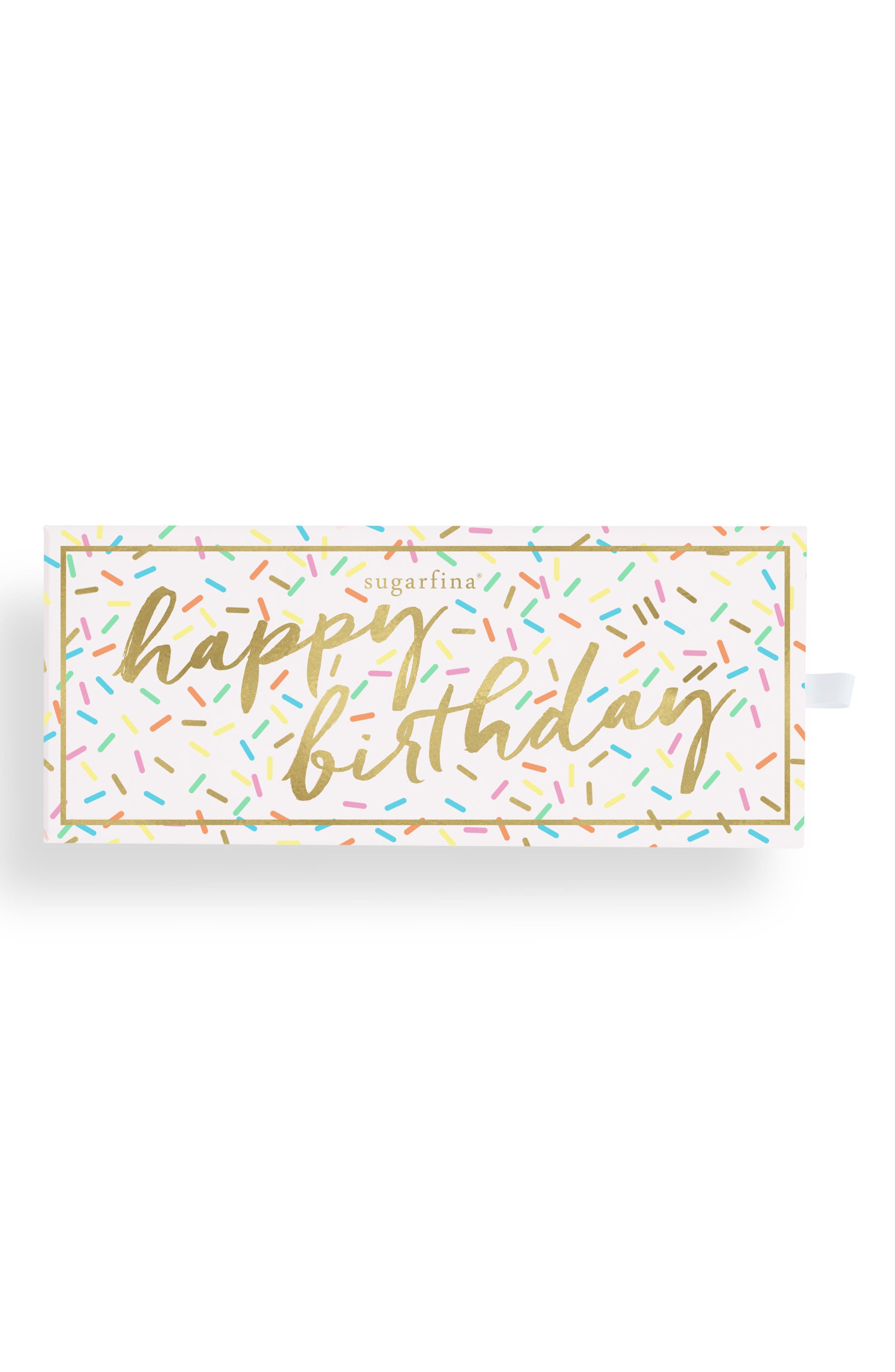 SUGARFINA Happy Birthday 3-Piece Candy Bento Box, Main, color, WHITE