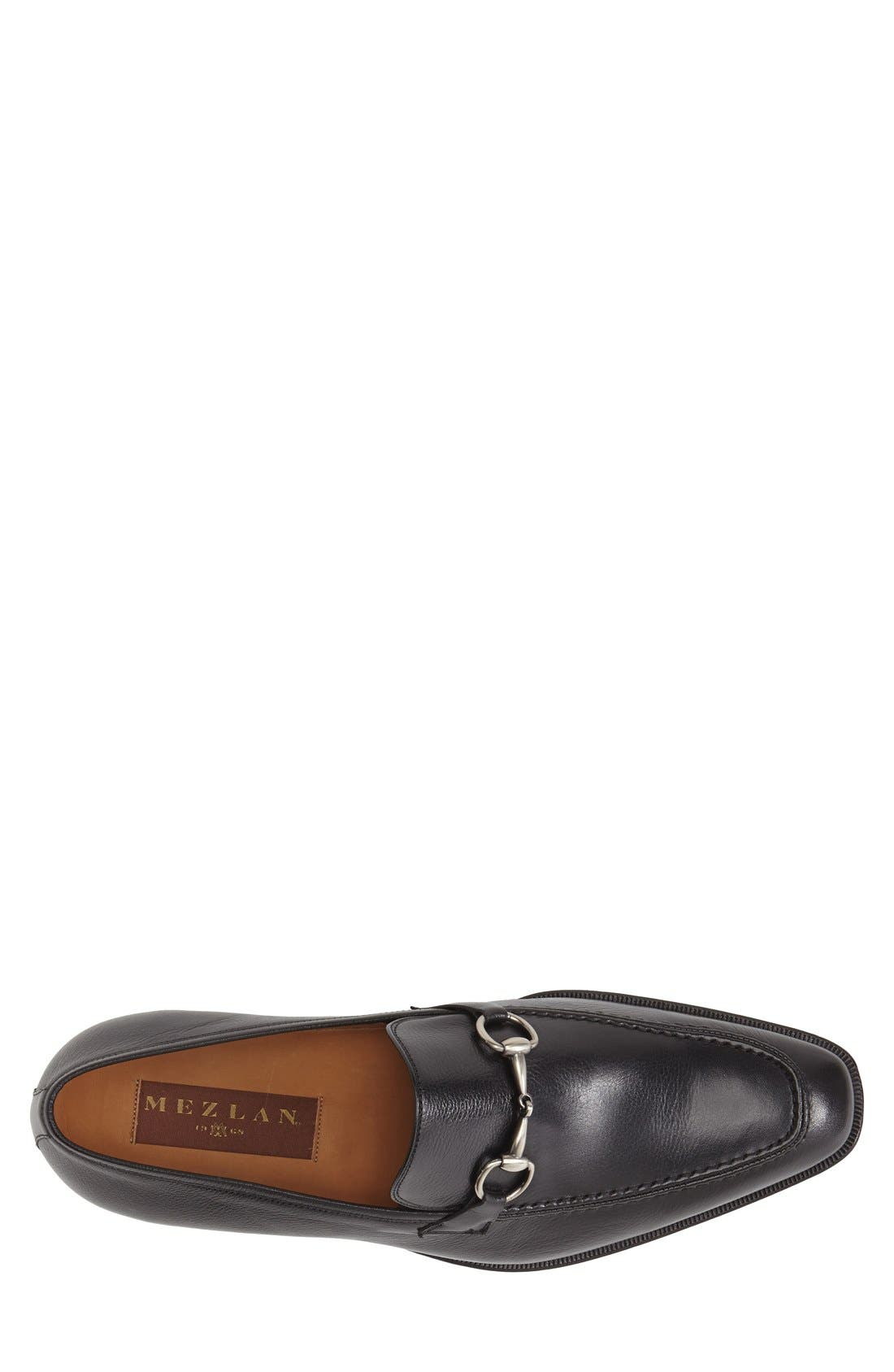 MEZLAN, 'Tours' Leather Bit Loafer, Alternate thumbnail 3, color, BLACK