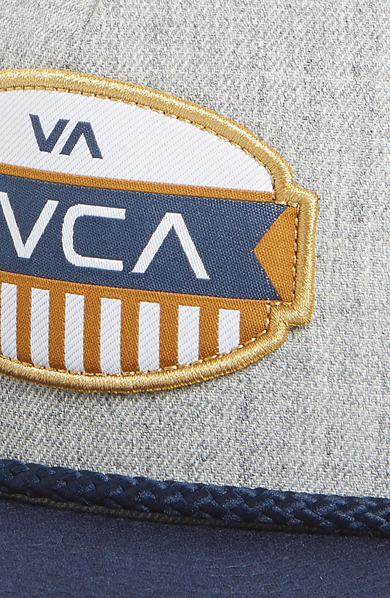 RVCA, Grill Snapback Cap, Alternate thumbnail 3, color, HEATHER GREY