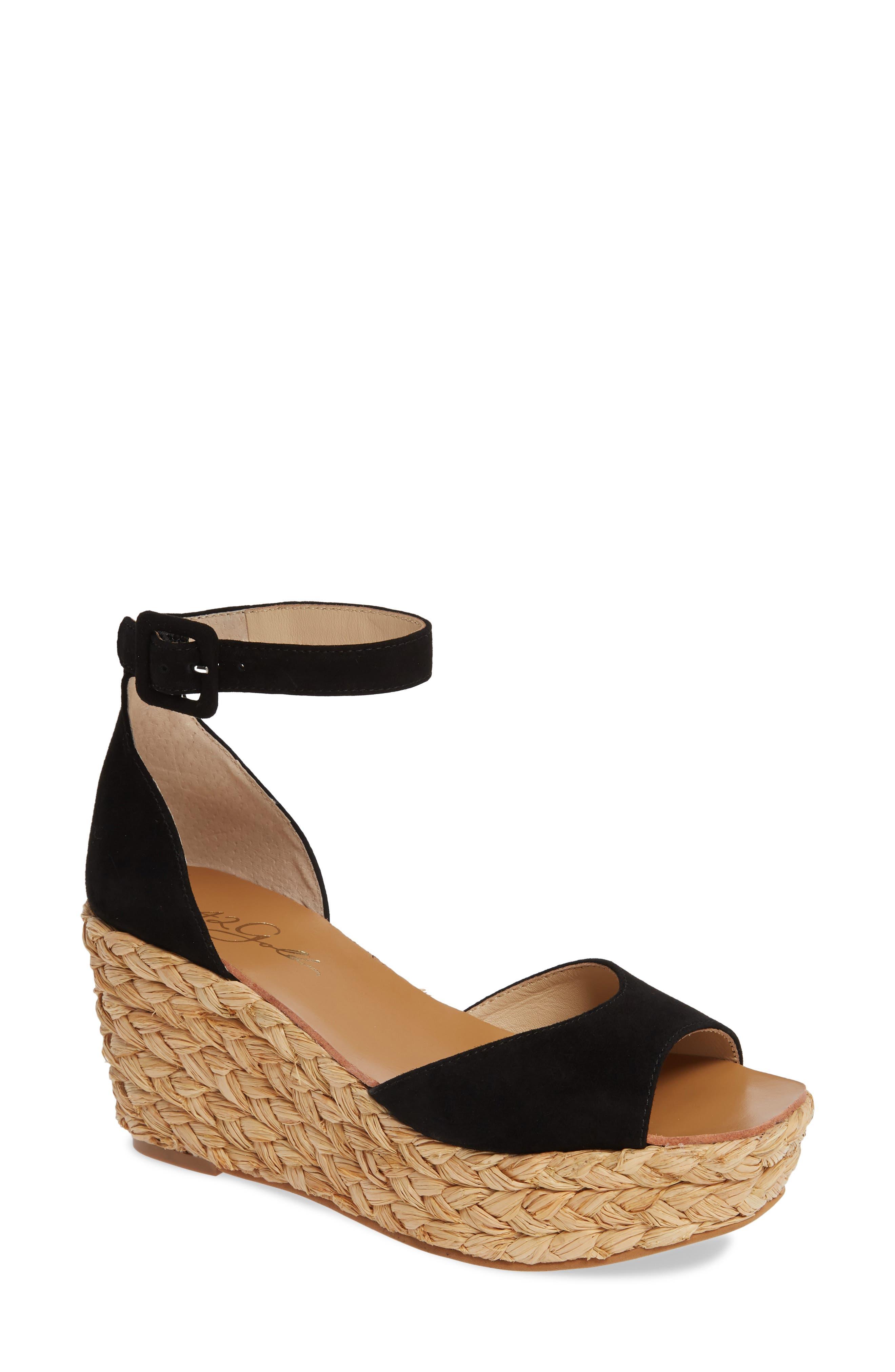 42 GOLD, Mindie Platform Wedge Sandal, Main thumbnail 1, color, BLACK SUEDE
