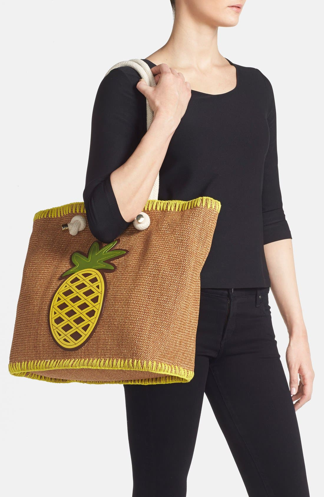 TORY BURCH, 'Pineapple' Woven Tote, Alternate thumbnail 4, color, 200
