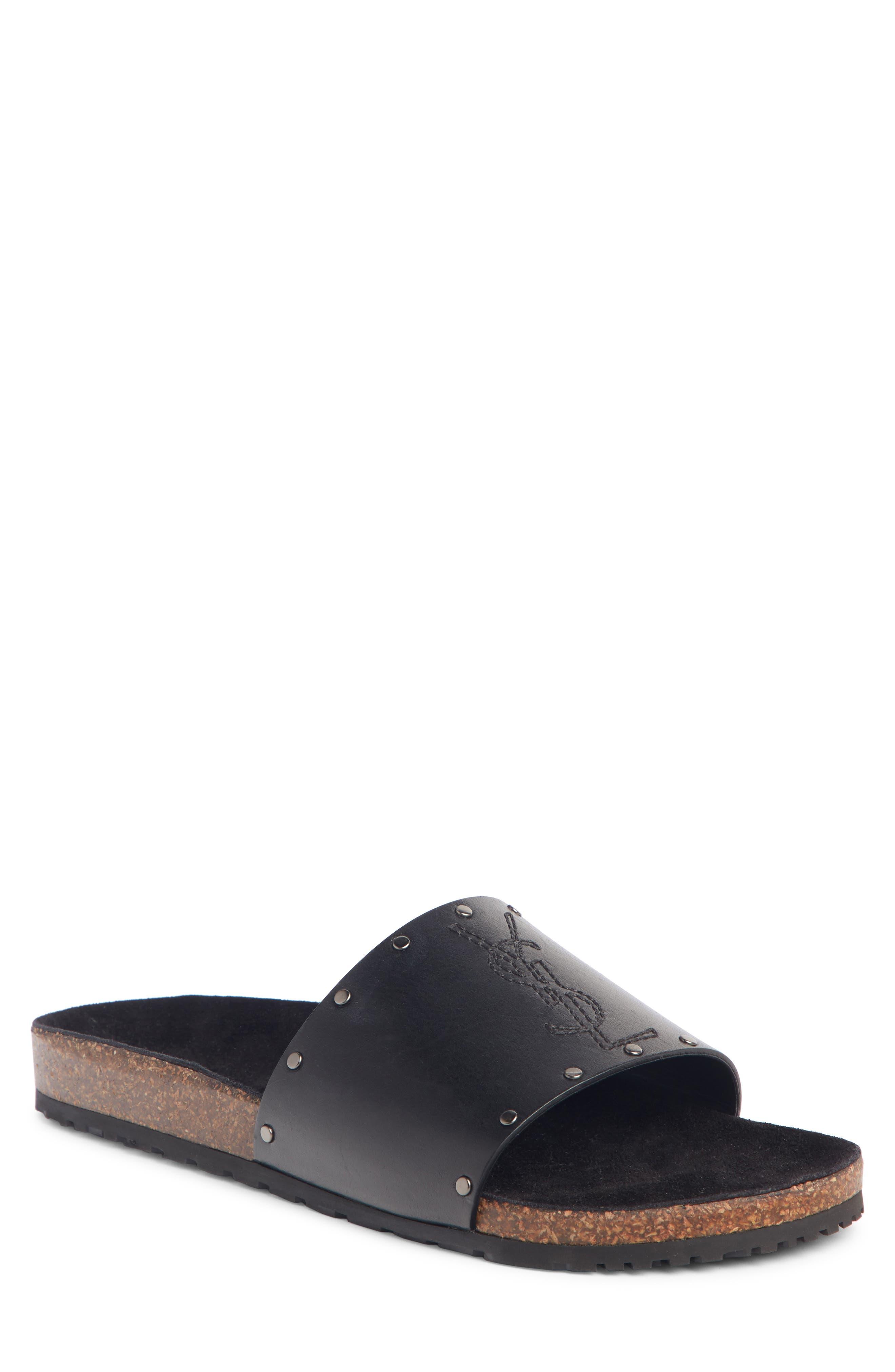 SAINT LAURENT Jimmy Slide Sandal, Main, color, NERO/ NERO